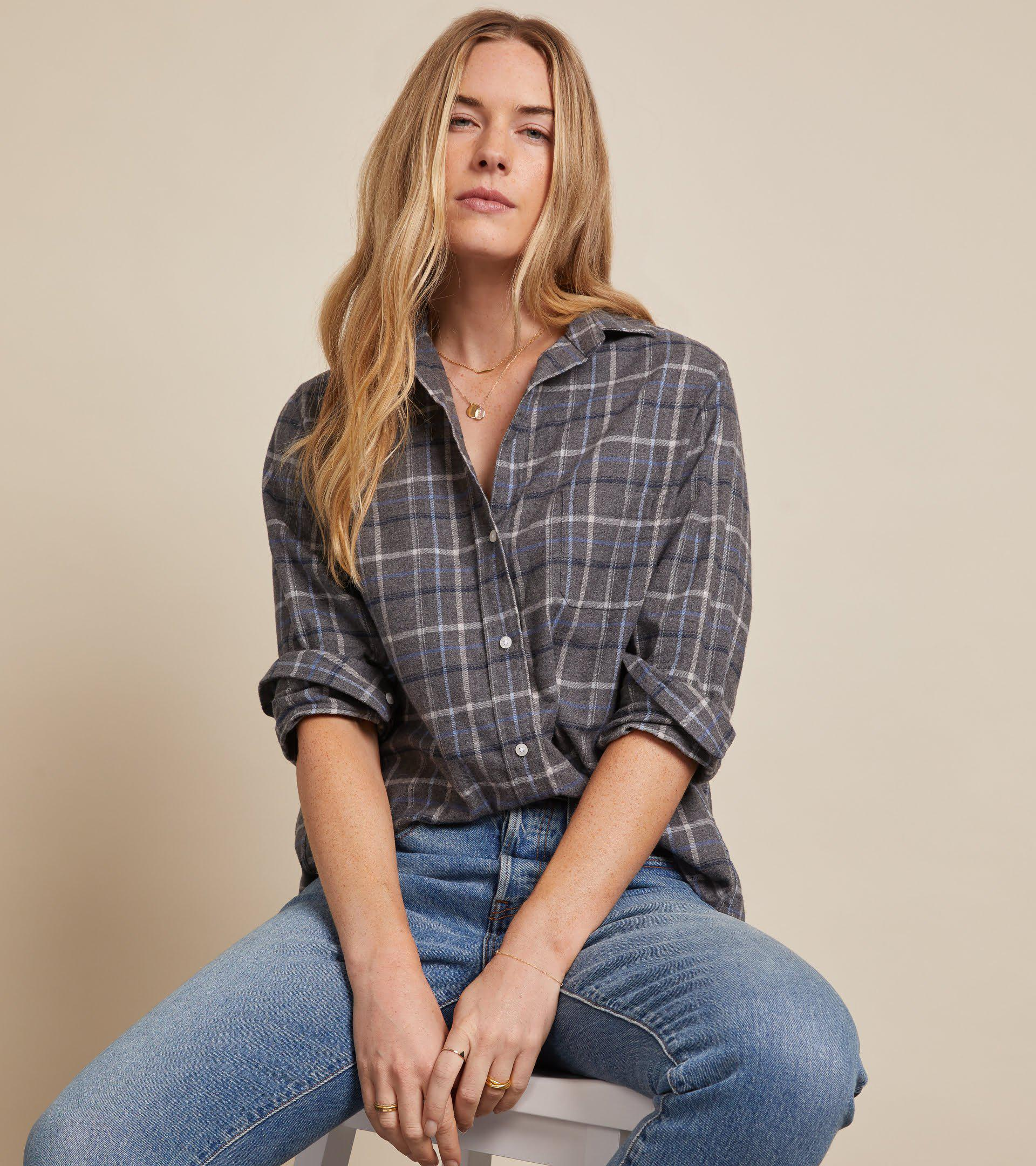 The Hero Button-Up Shirt Gray, Blue, White and Black Plaid, Feathered Flannel