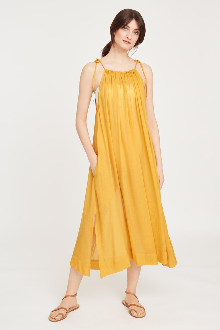 Women's Gathered-Neck Maxi Coverup in Daffodil | Size: 1