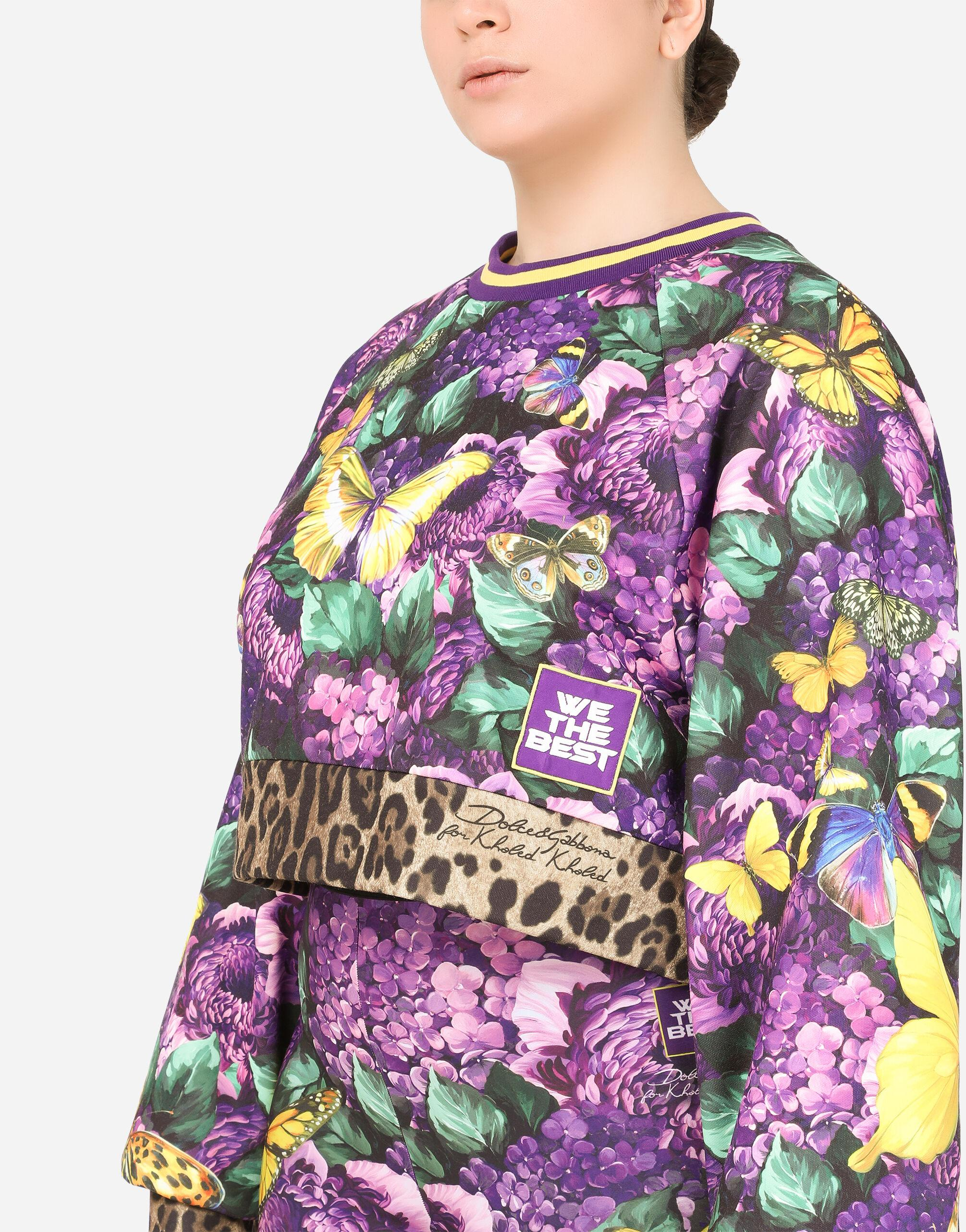 Round-neck jersey sweatshirt with butterfly print 2