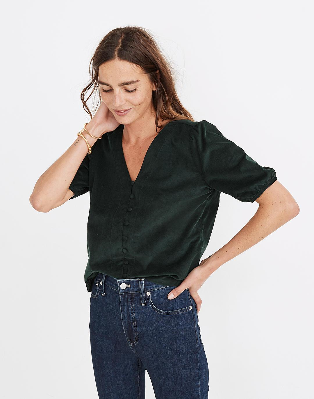 Corduroy Puff-Sleeve Button-Front Top 1