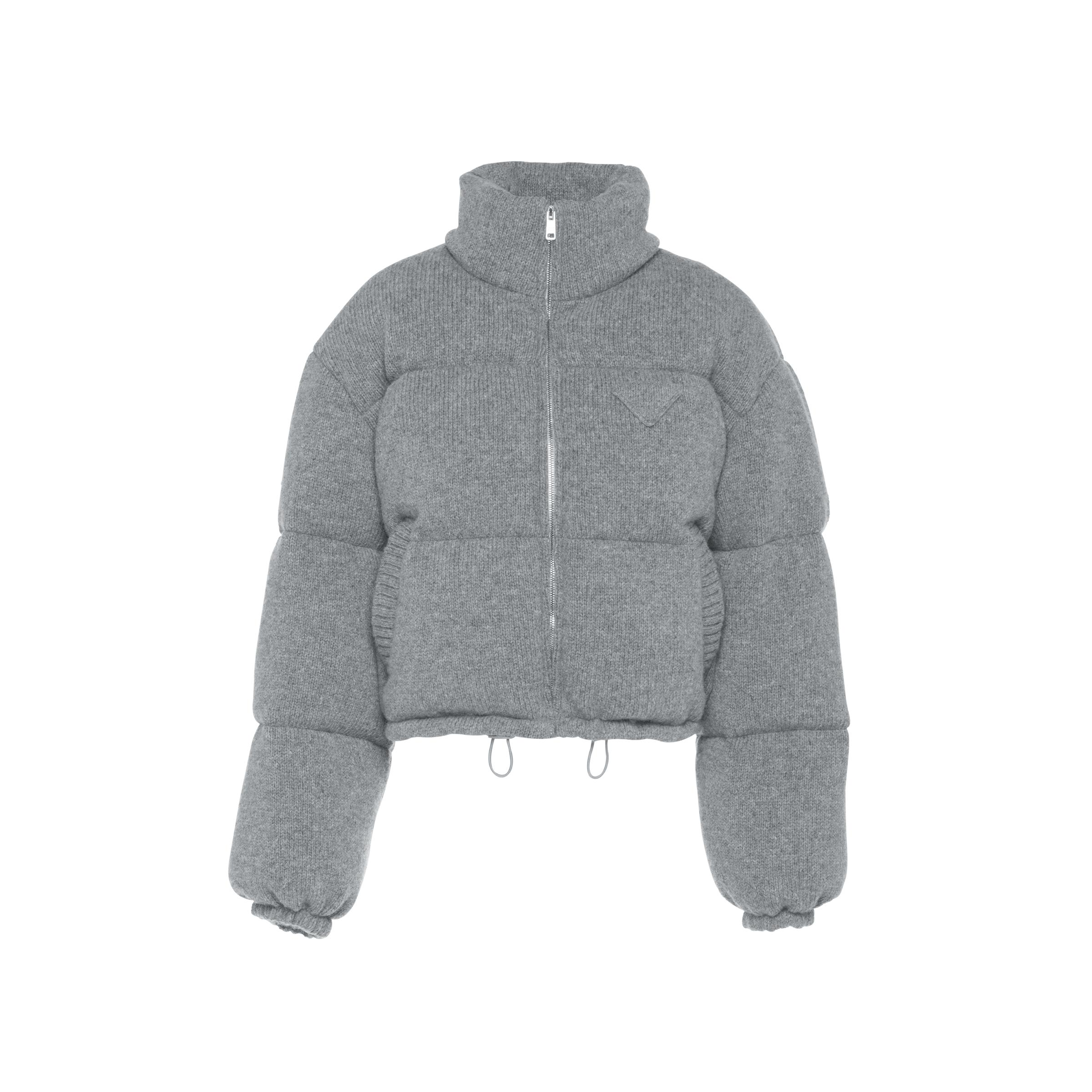 Wool And Cashmere Puffer Jacket Women Grey