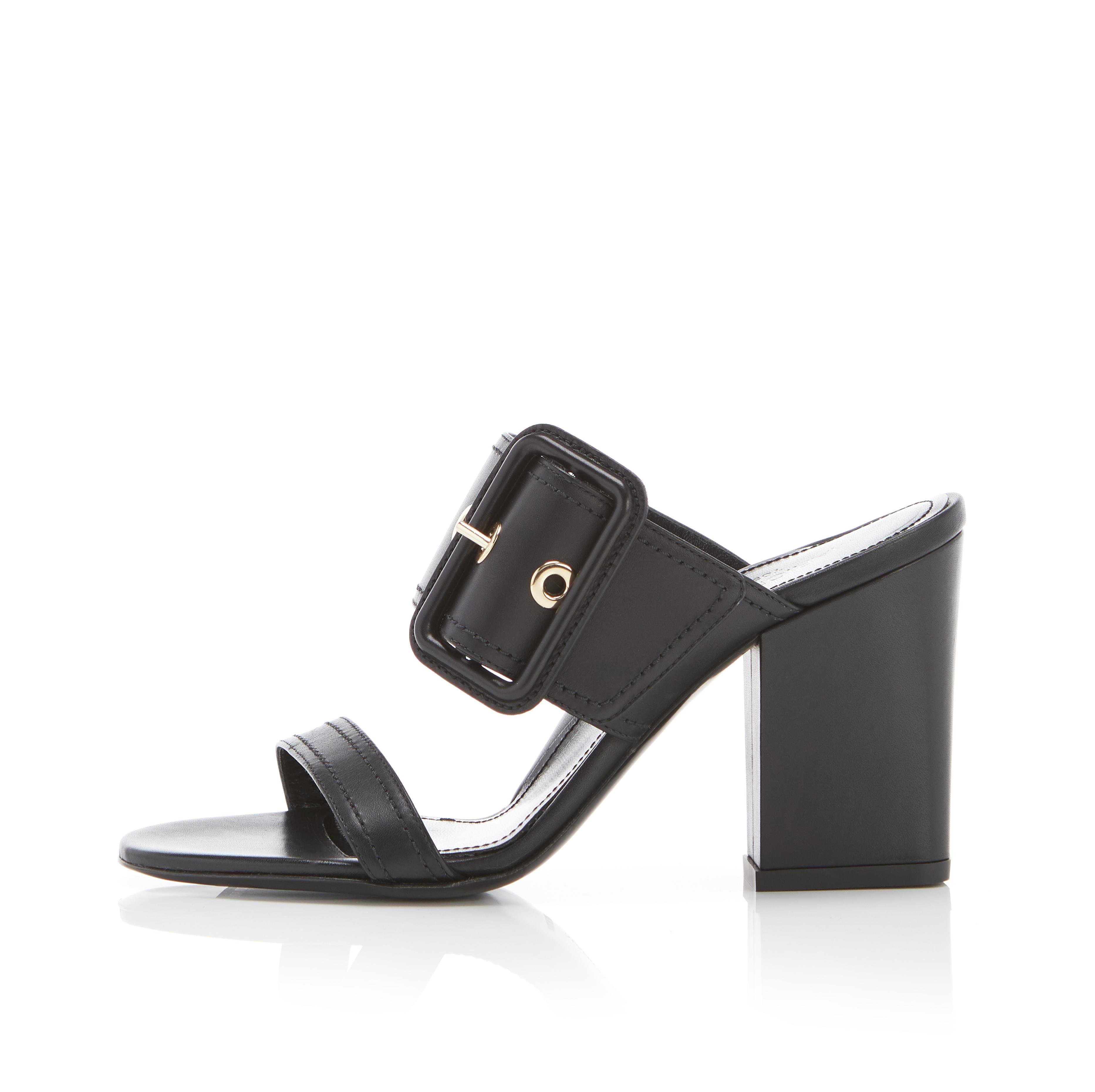 Louise | Leather Block Heel Sandal With Buckle