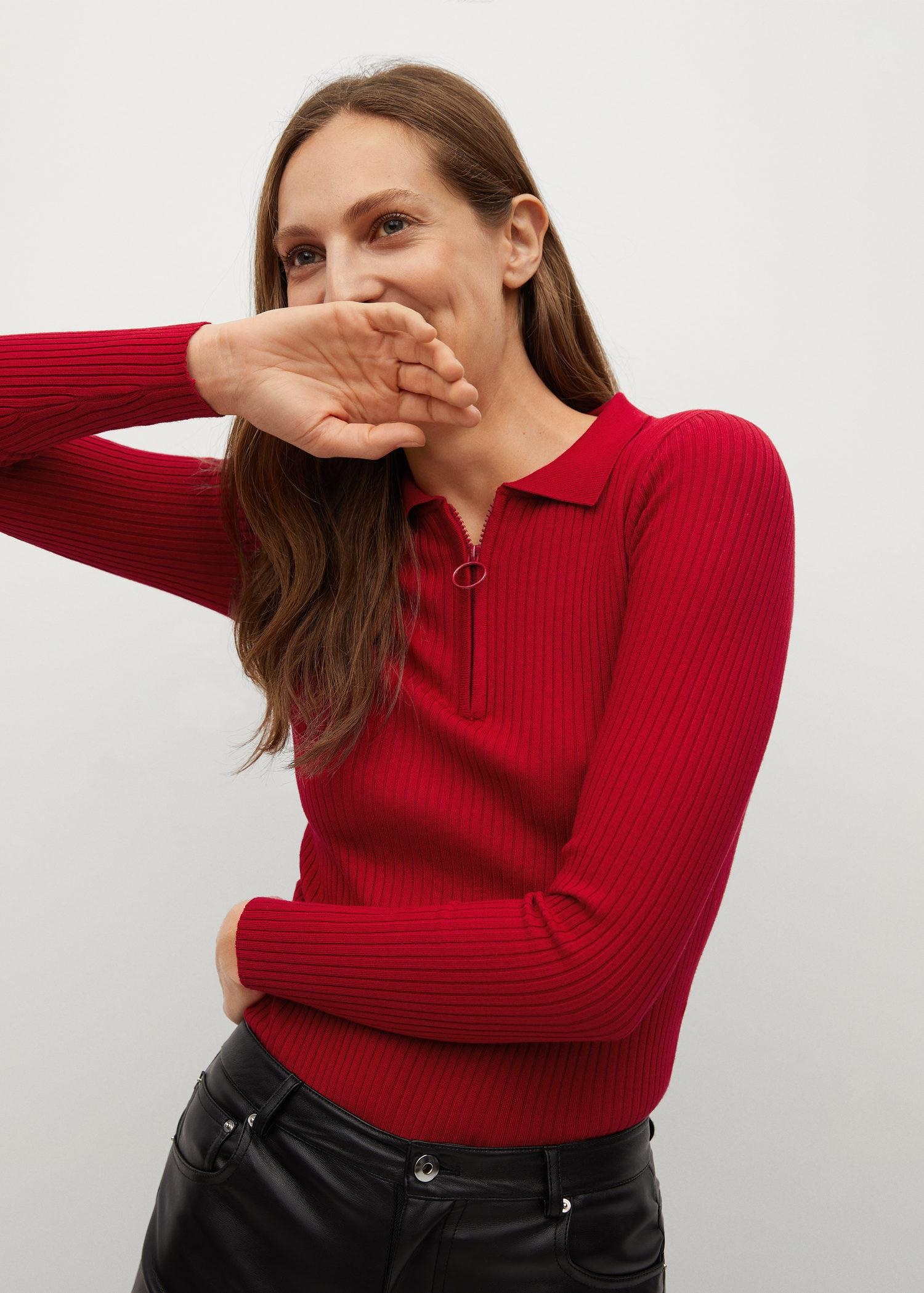 Ribbed sweater with zipper 0