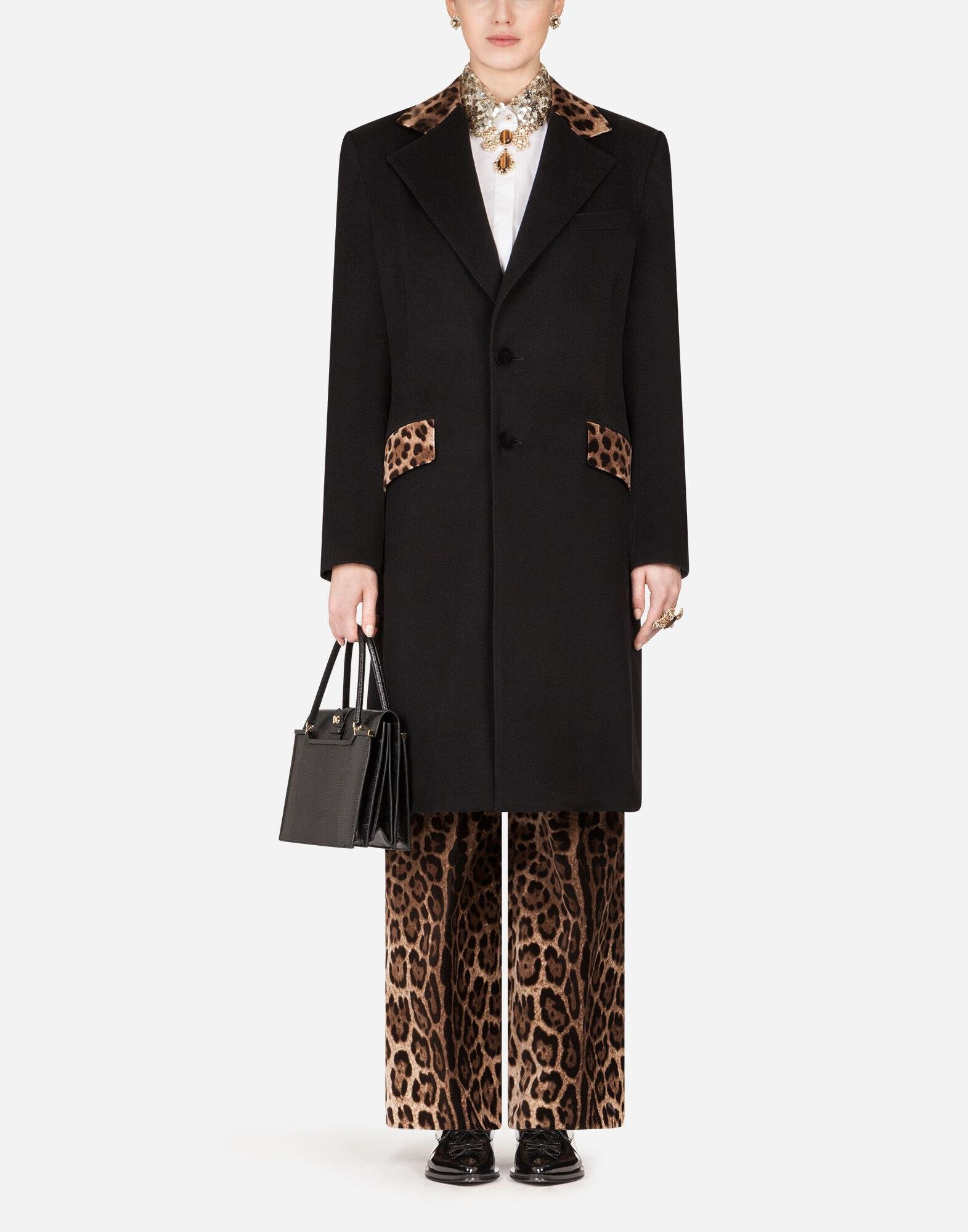 Mixed cashmere coat with leopard print detail