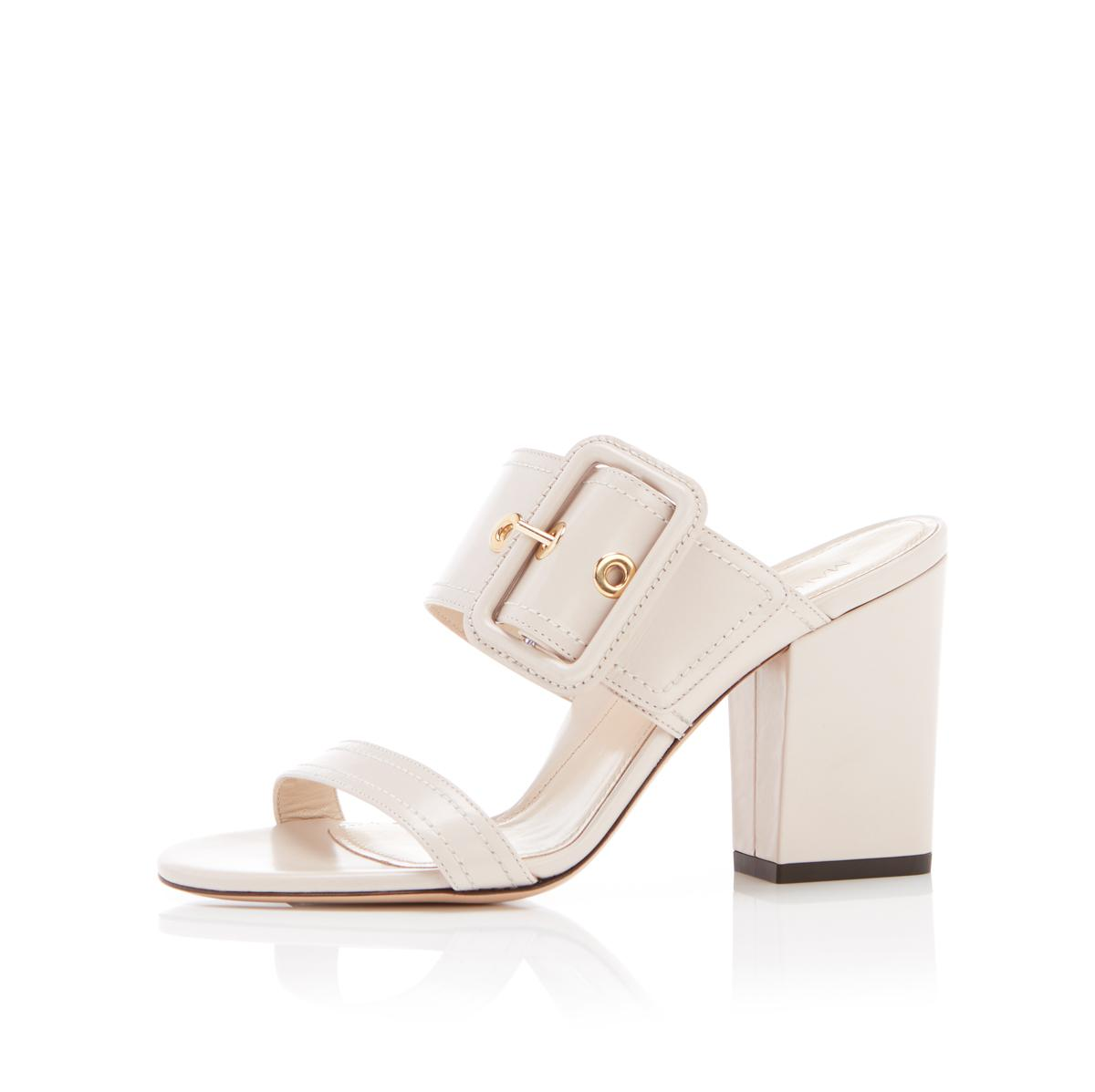 Louise   Leather Block Heel Sandal With Buckle 1