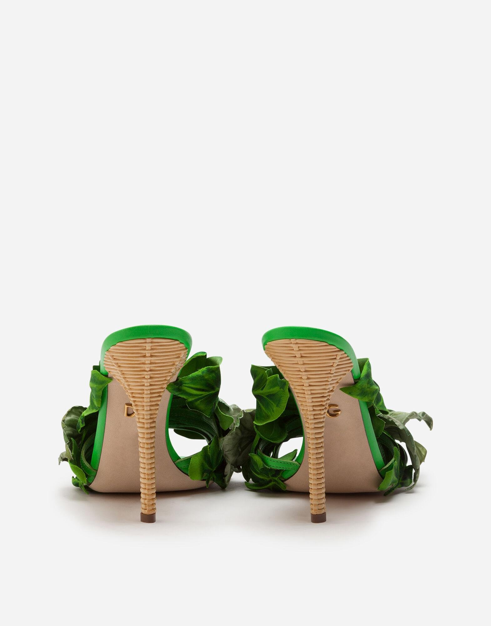 Satin mules with leaf appliqué and jewel embroidery 2