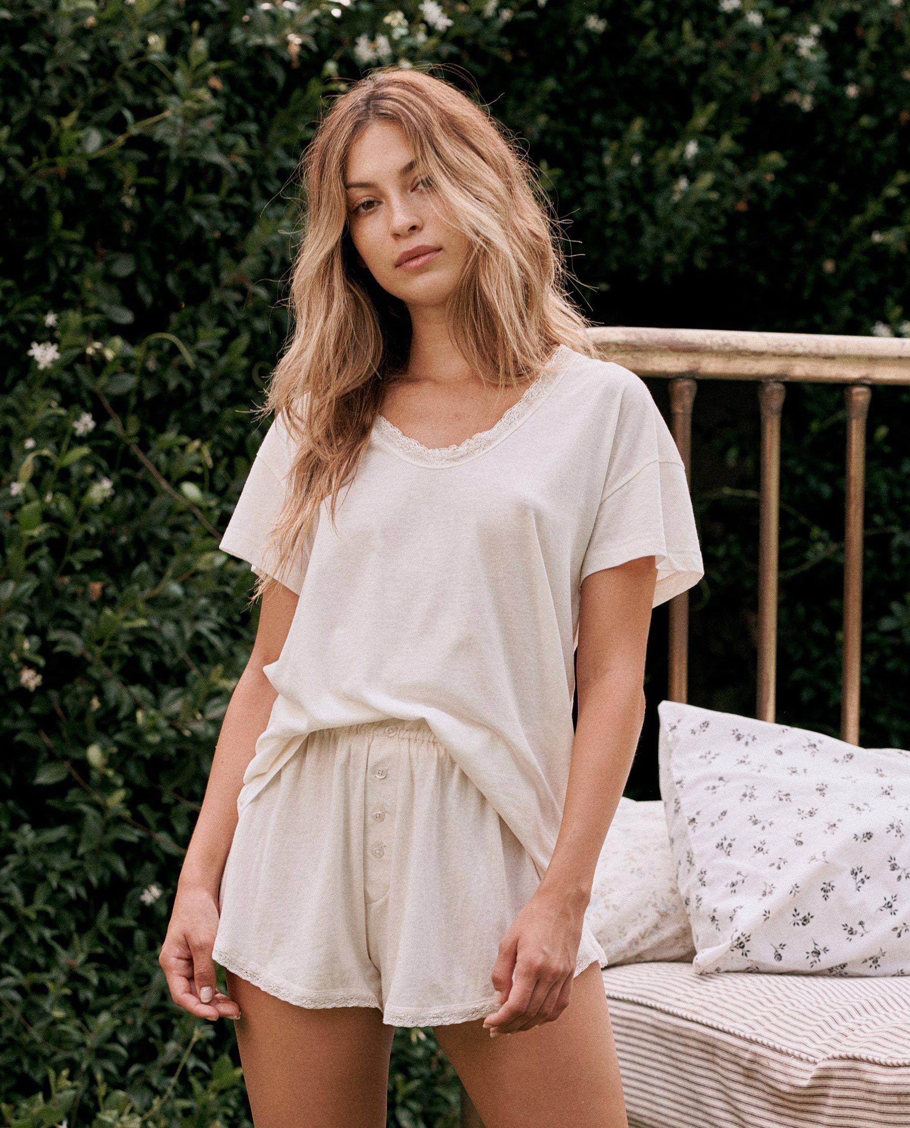 The Lace Tee. -- WASHED WHITE