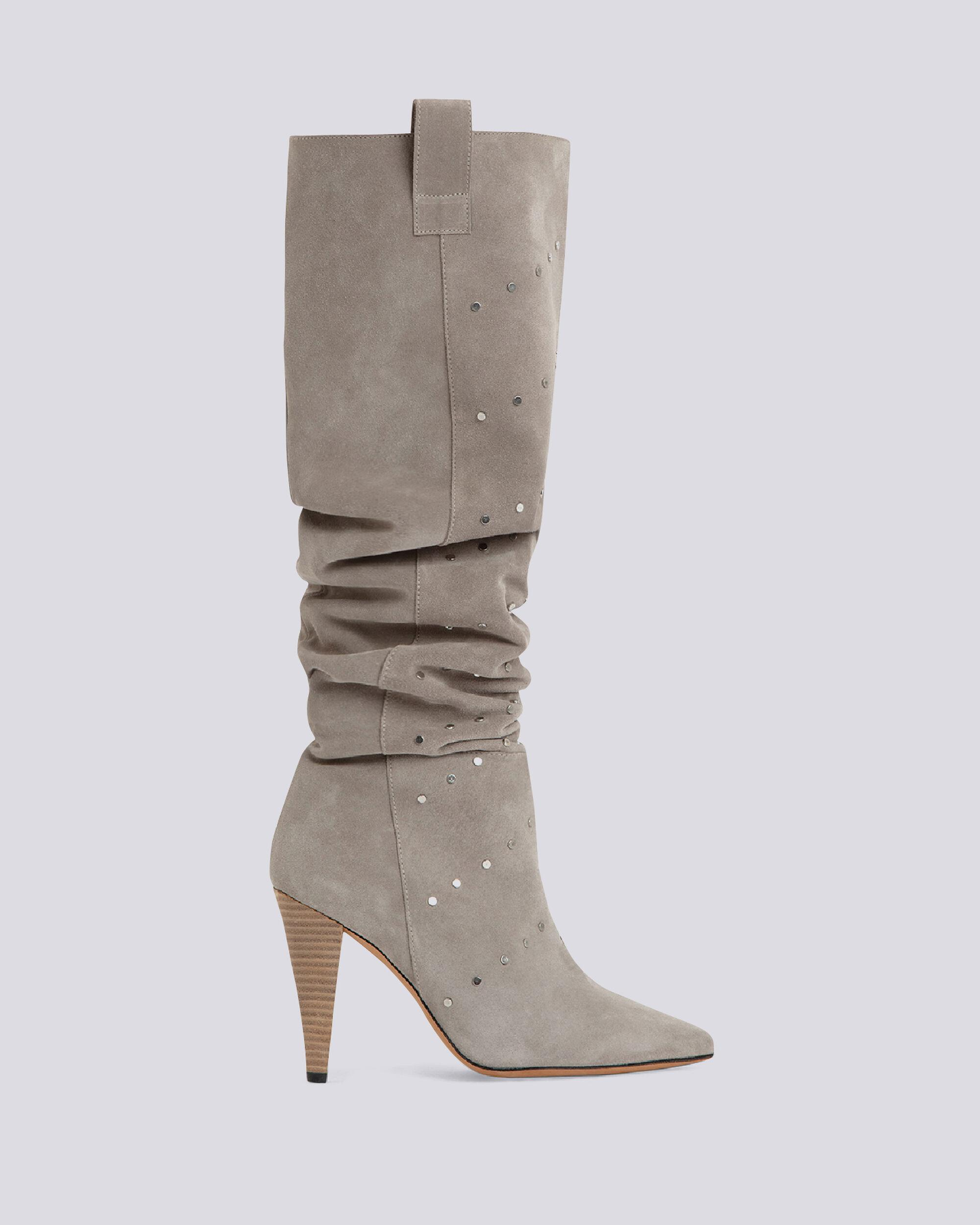 ELGOW STUDDED SUEDE SLOUCHE BOOTS