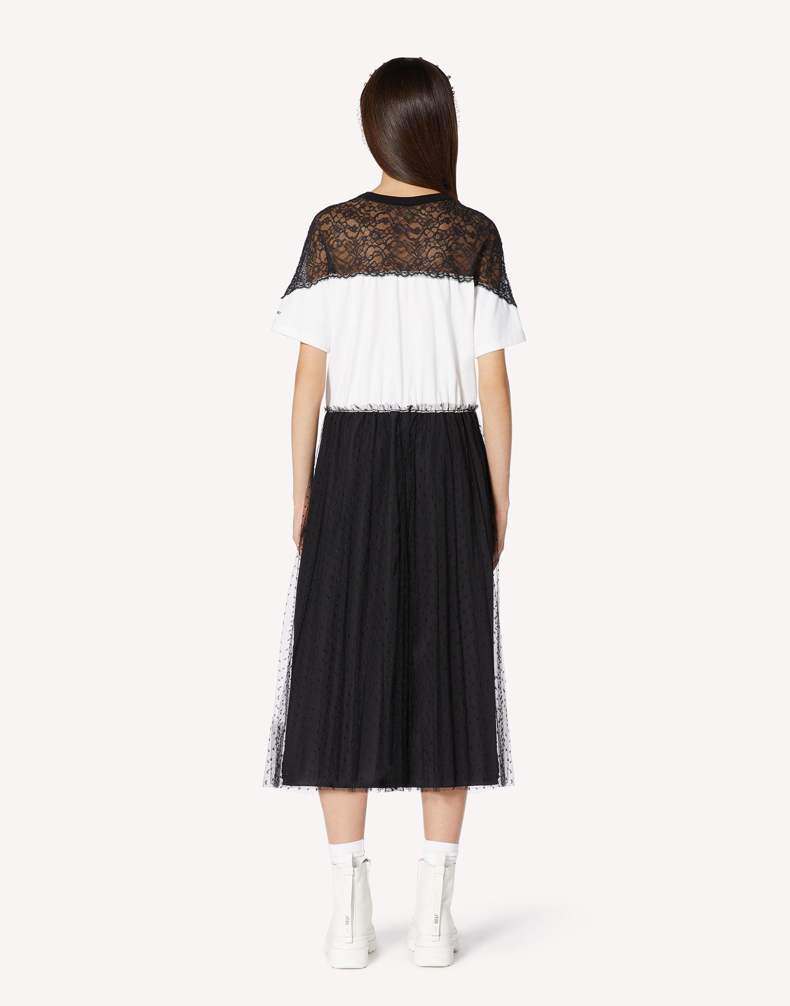 JERSEY DRESS WITH POINT D'ESPRIT TULLE AND LACE 1