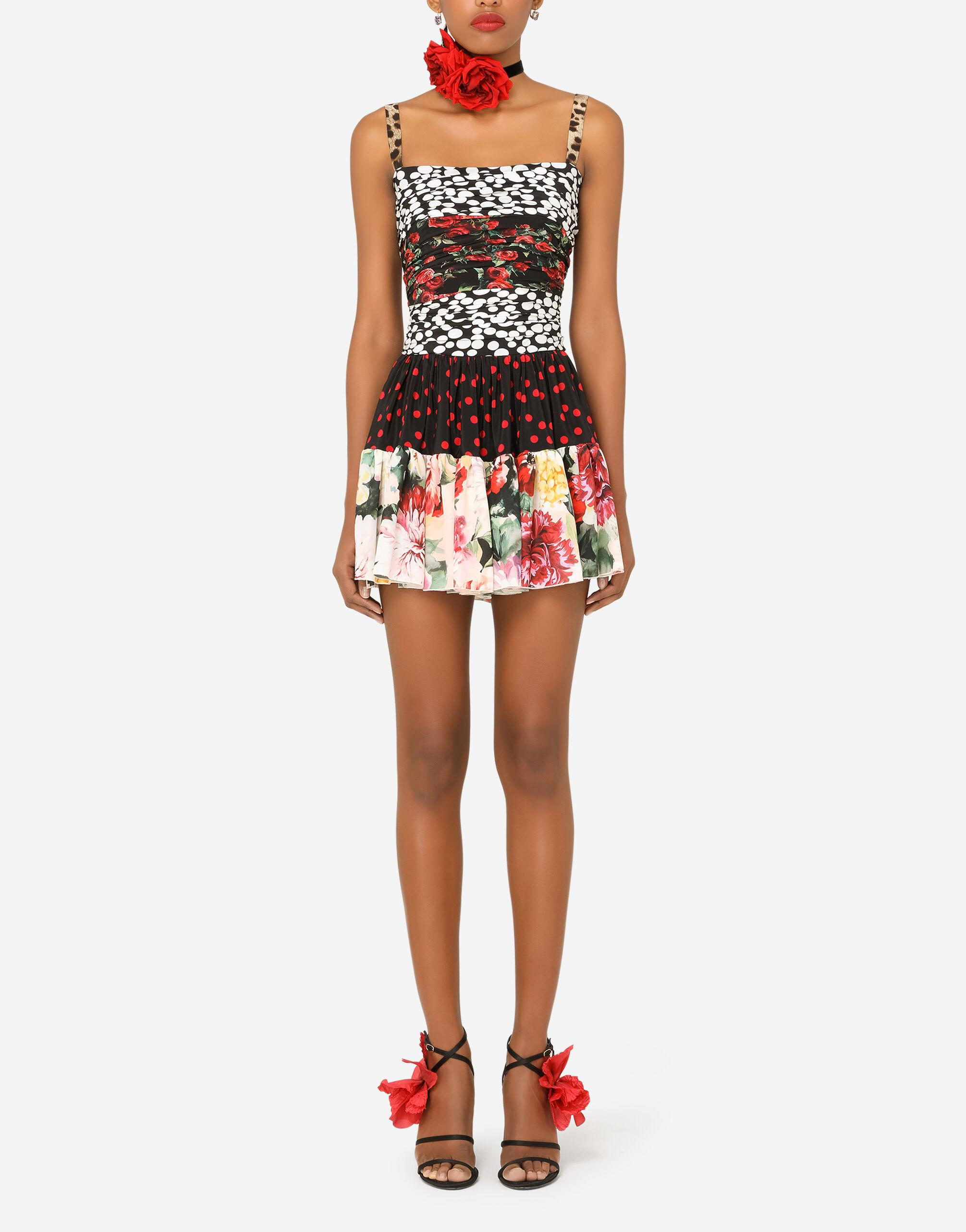 Short patchwork crepe de chine and charmeuse dress