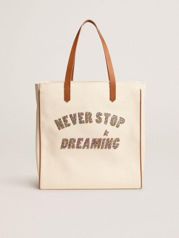 California North-South Never Stop Dreaming glitter bag