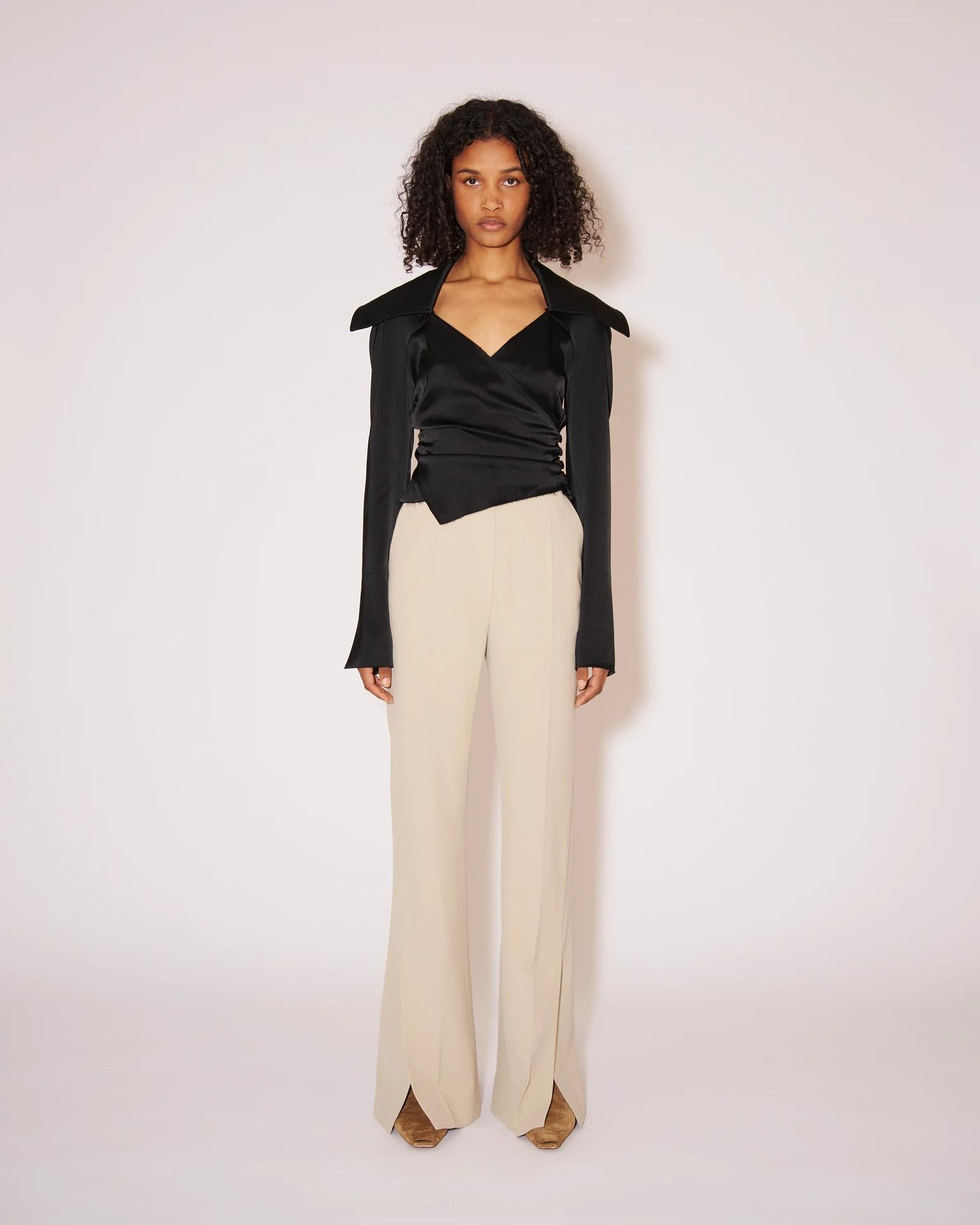 TULIP - Eco cady suiting wide-leg pants - Stone 1