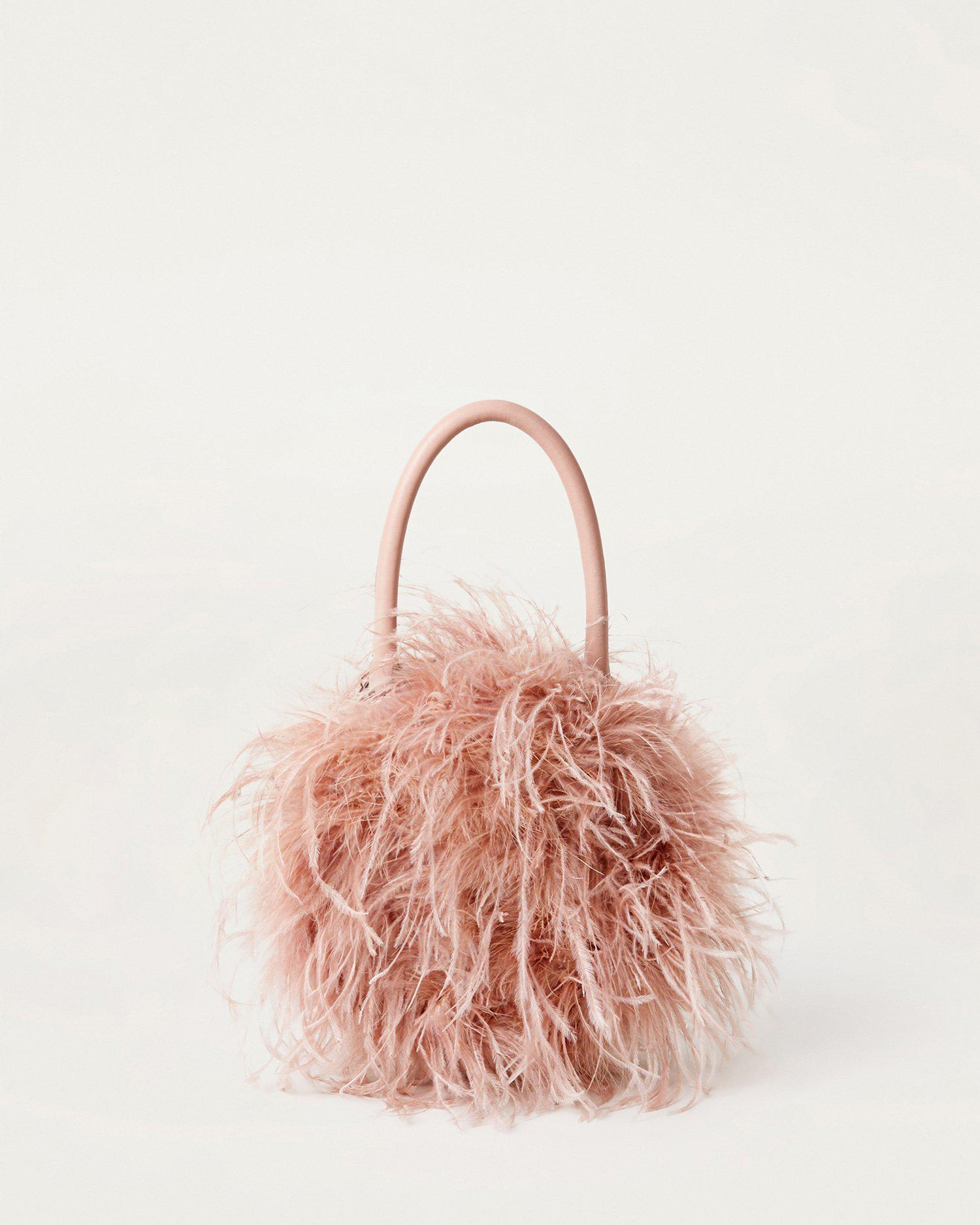 Zadie Buff Pink Feather Bag