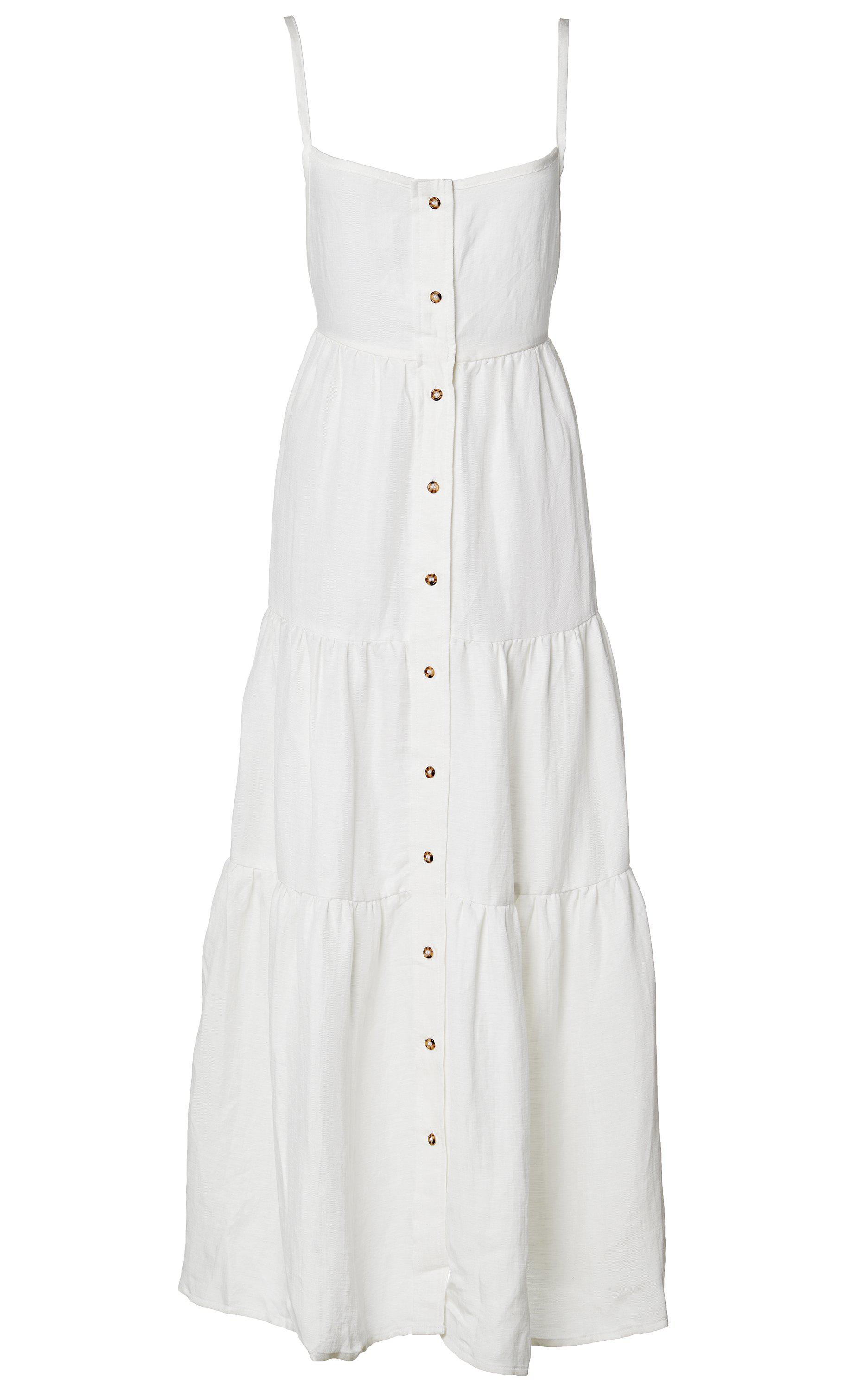 The Flounce Tiered Button-Down Midi Dress in Linen Cupro