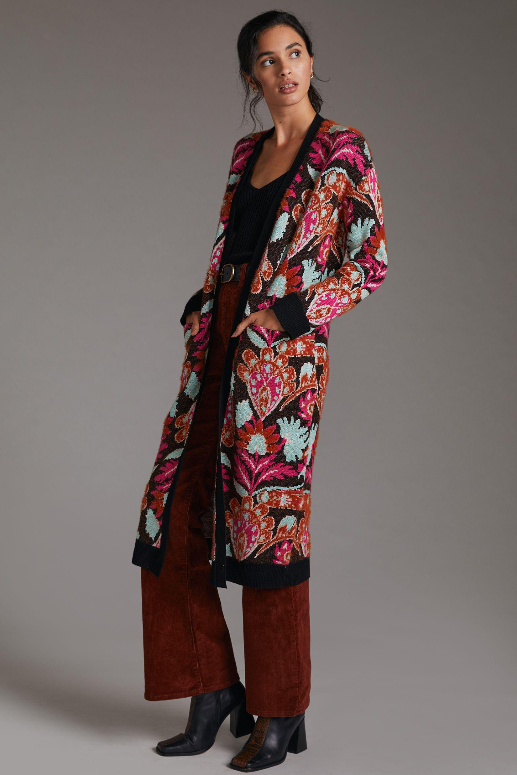 Patterned Duster Cardigan