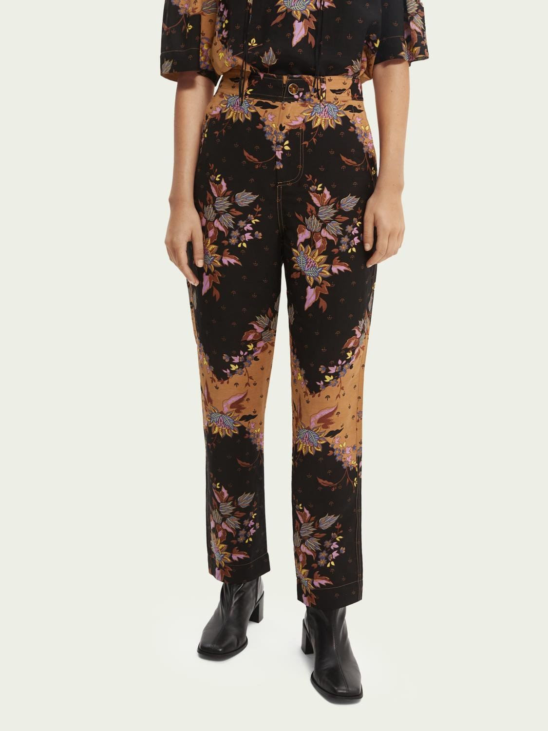 Draped straight-fit trousers