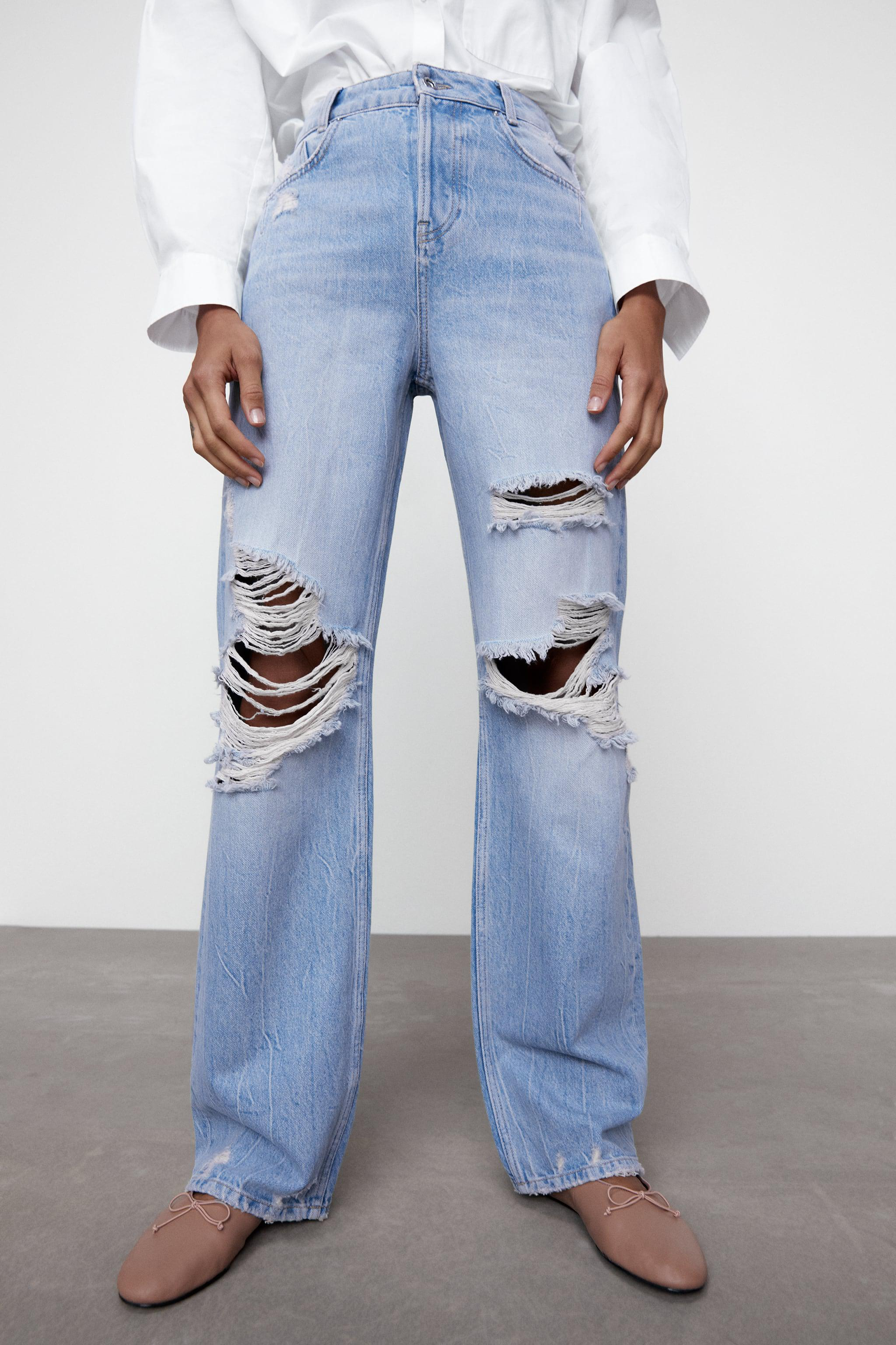 Z1975 HI-RISE STRAIGHT LEG JEANS WITH RIPS 1