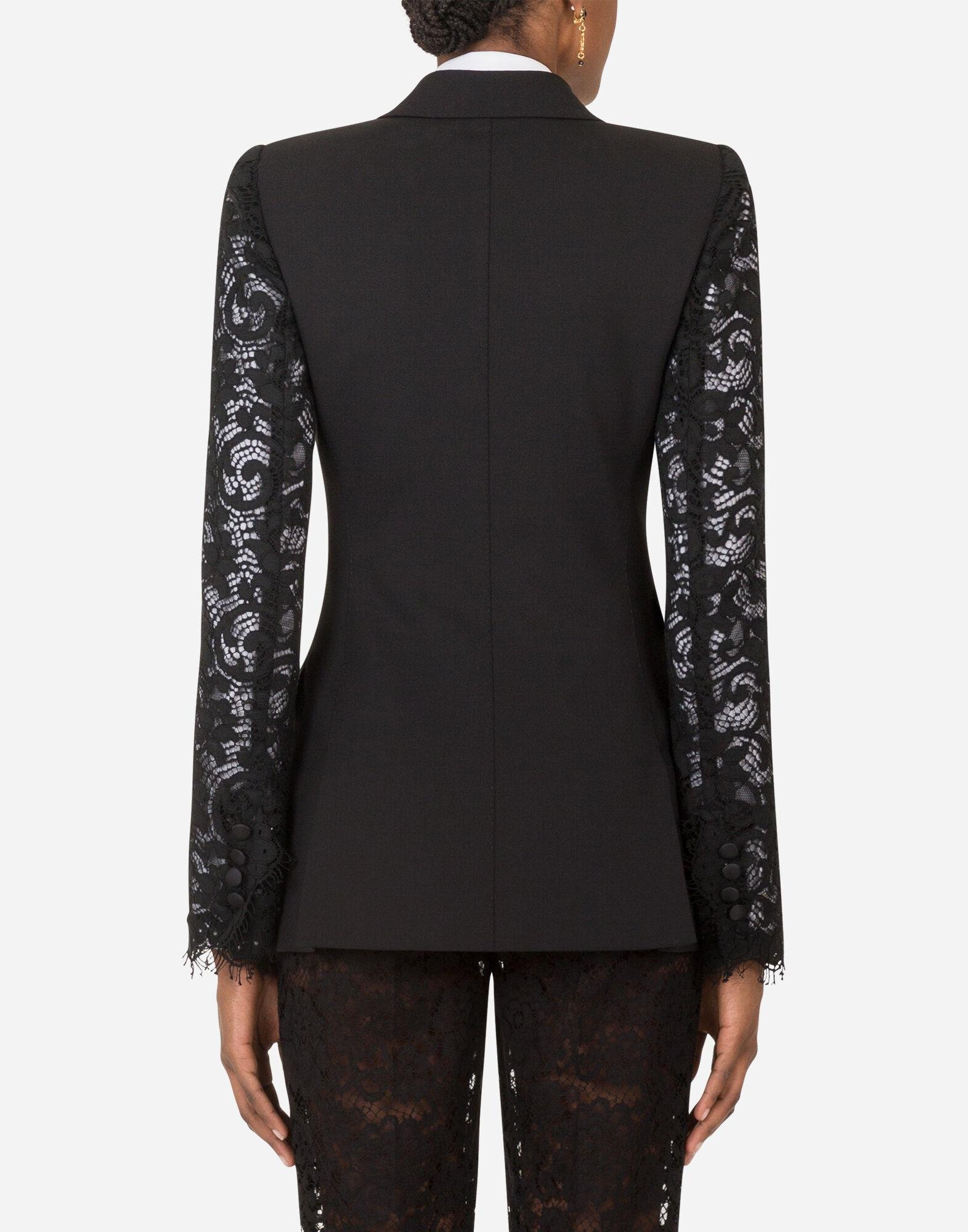 Double-breasted woolen blazer with lace sleeves 1