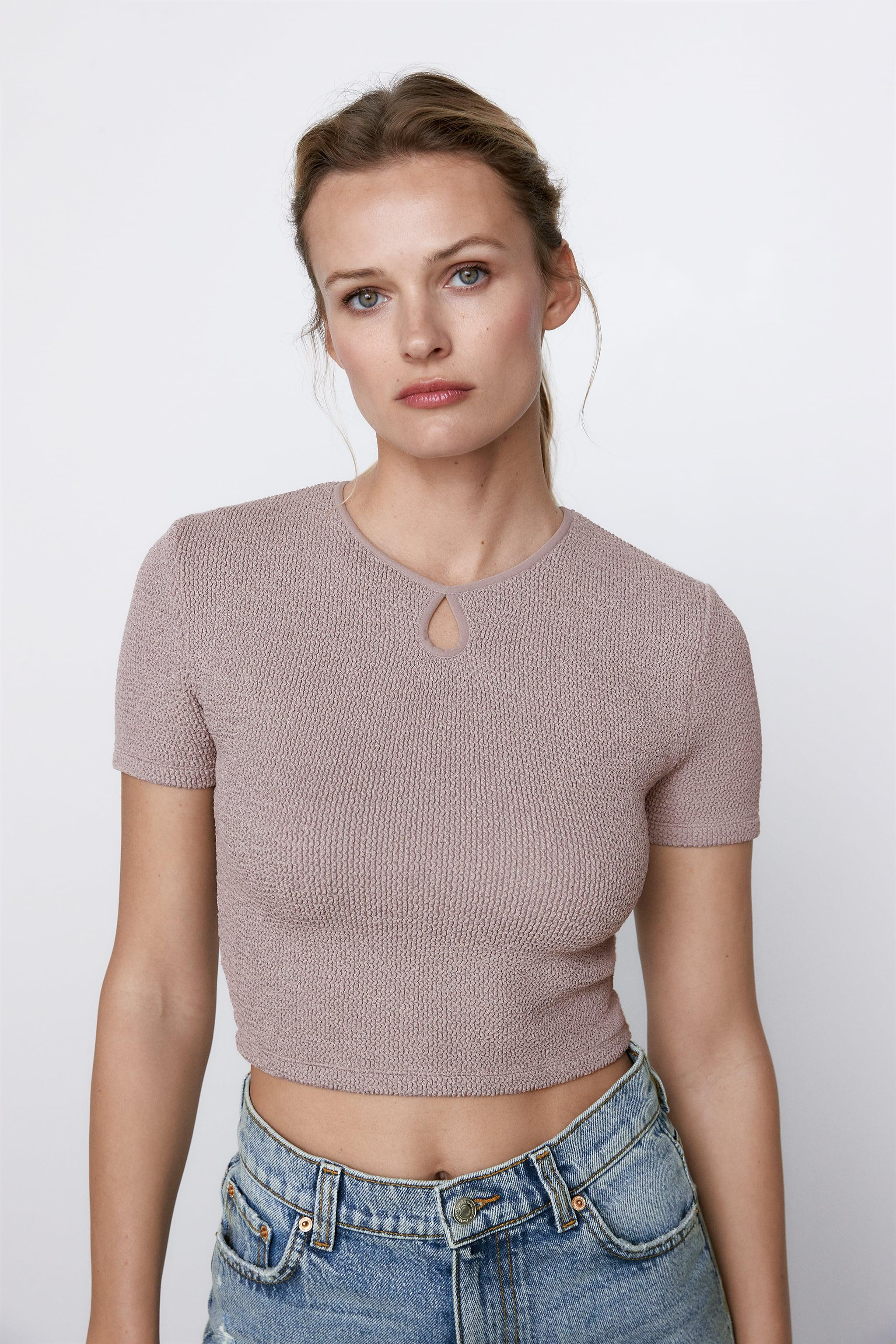 CROPPED TEXTURED WEAVE SHIRT 1