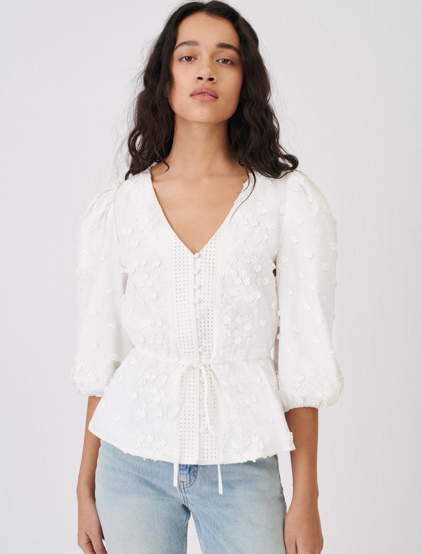 EMBROIDERED TOP WITH GATHERED WAIST