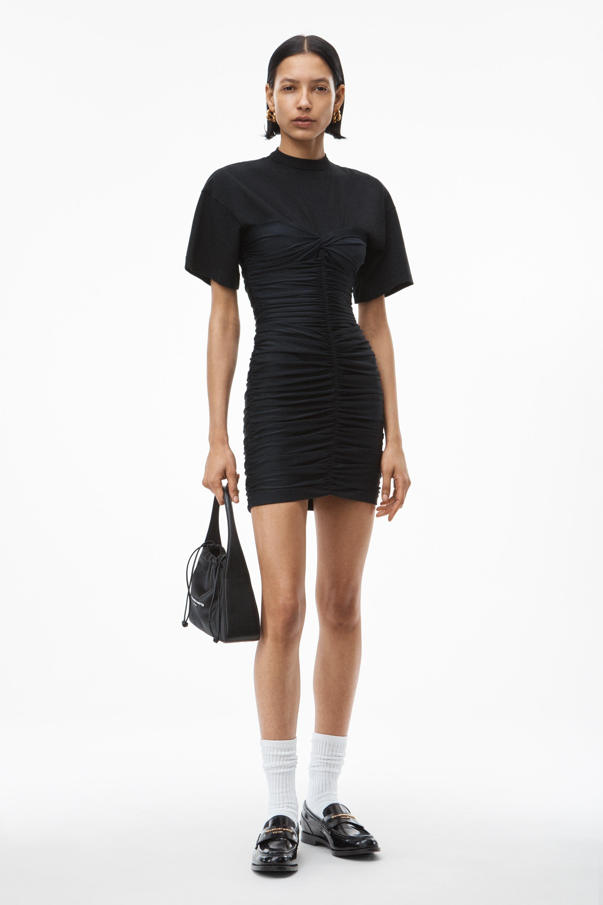 hybrid dress in fitted ruched spandex