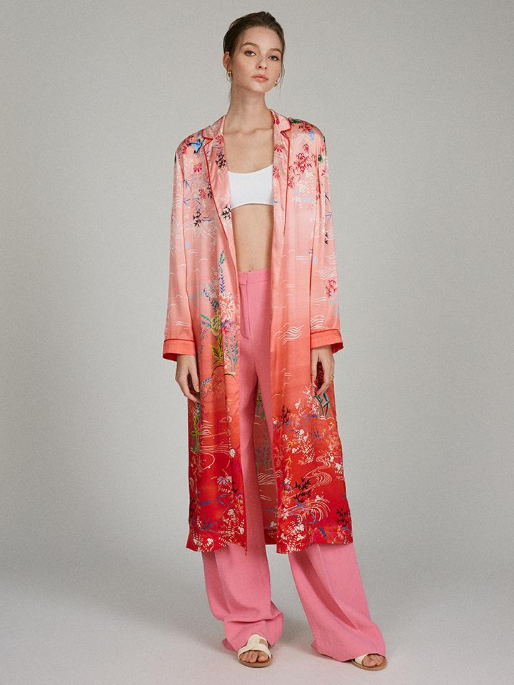 Wrap Duster in Sunset Blossom print