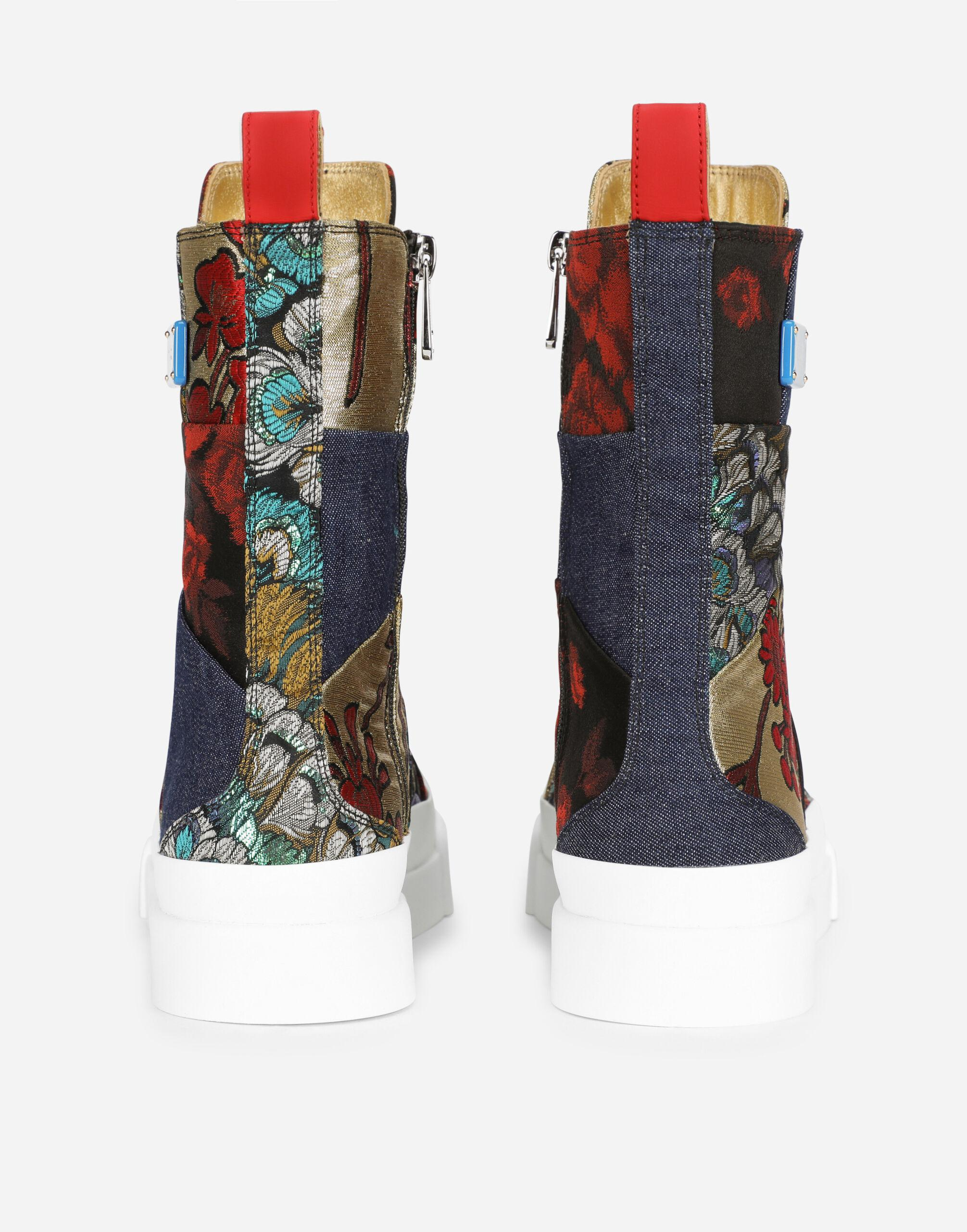 Patchwork fabric Portofino light high-top sneakers with logo plate 2