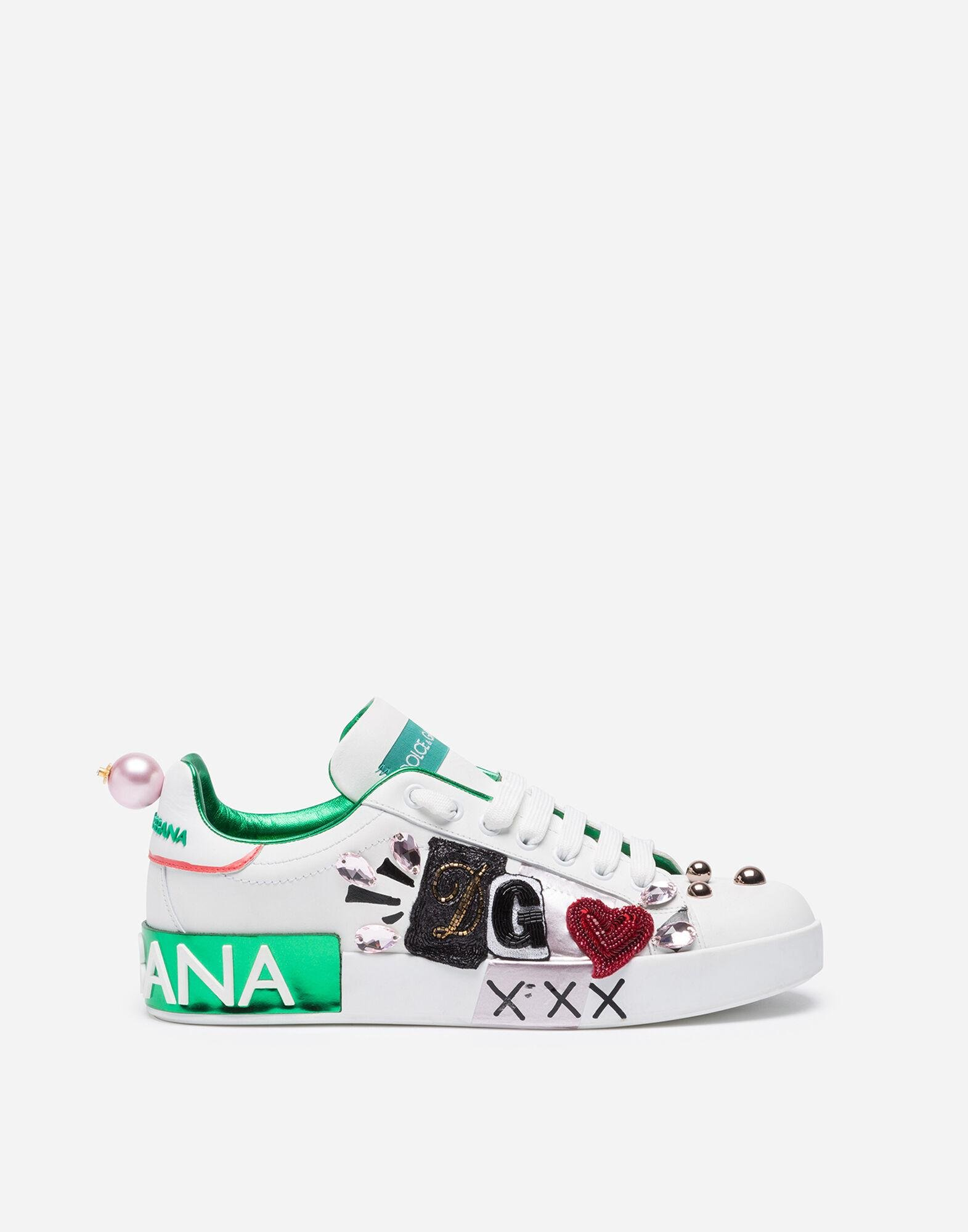 Portofino sneakers in nappa calfskin with patch and embroidery