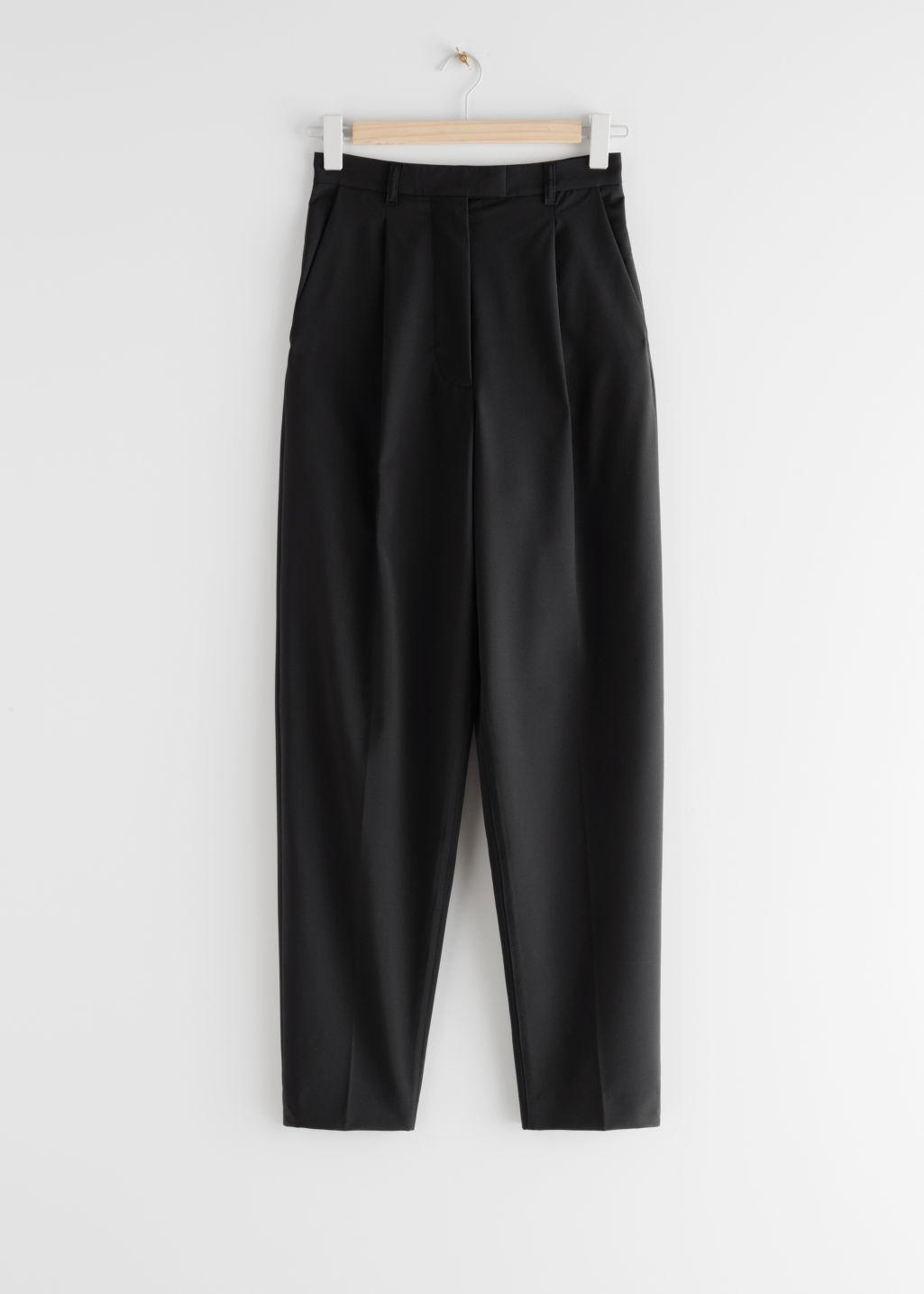 Tapered Wool Blend Press Crease Trousers