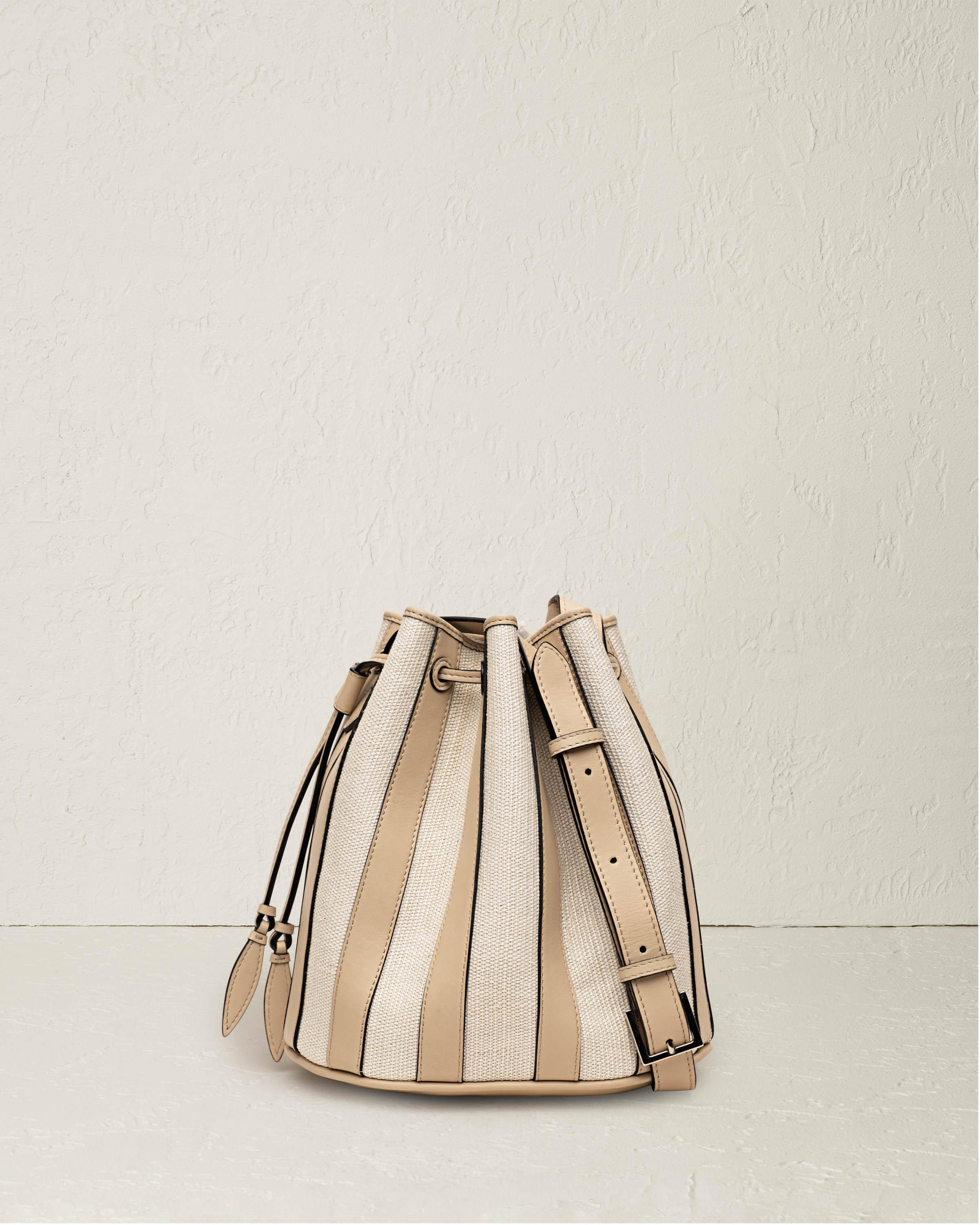 The Large Drawstring in Nappa Vertical Stripes and Fique