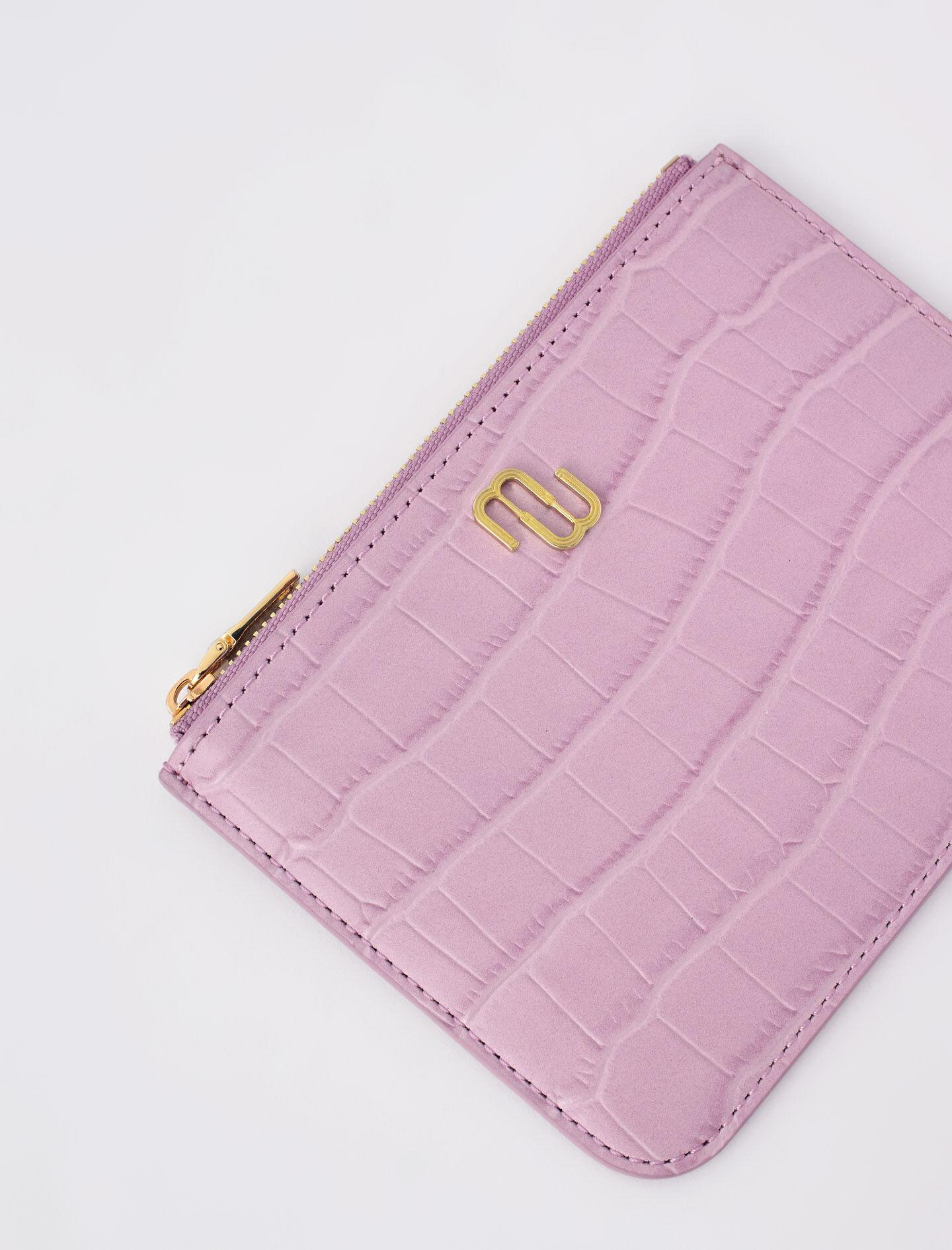 ZIP-UP EMBOSSED LEATHER POUCH 2