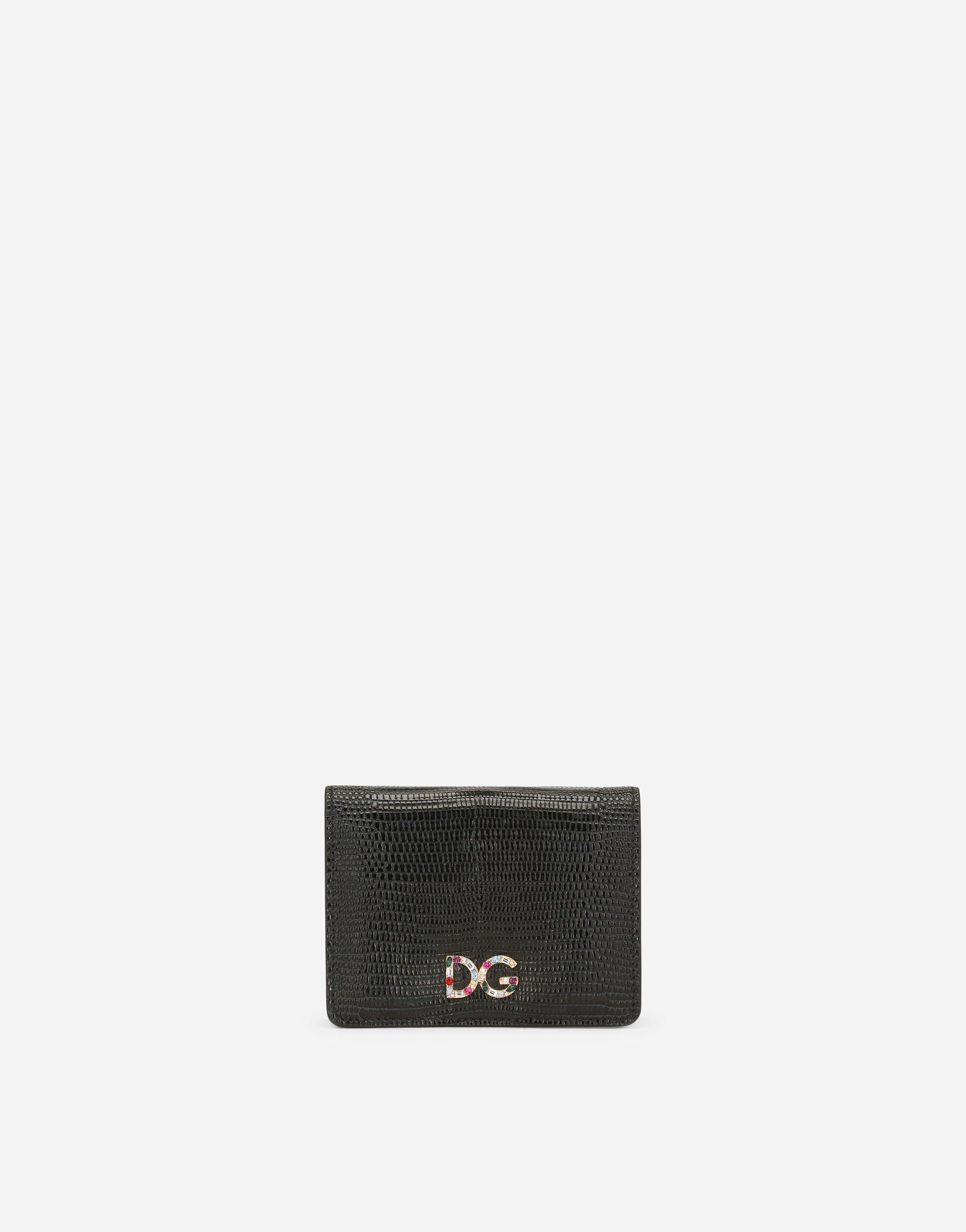 Small continental wallet in Dauphine calfskin with rhinestone-detailed DG logo