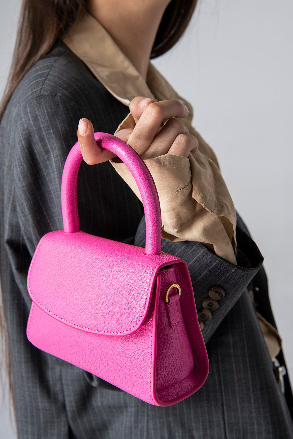 Mini Hot Pink Grained Leather 4