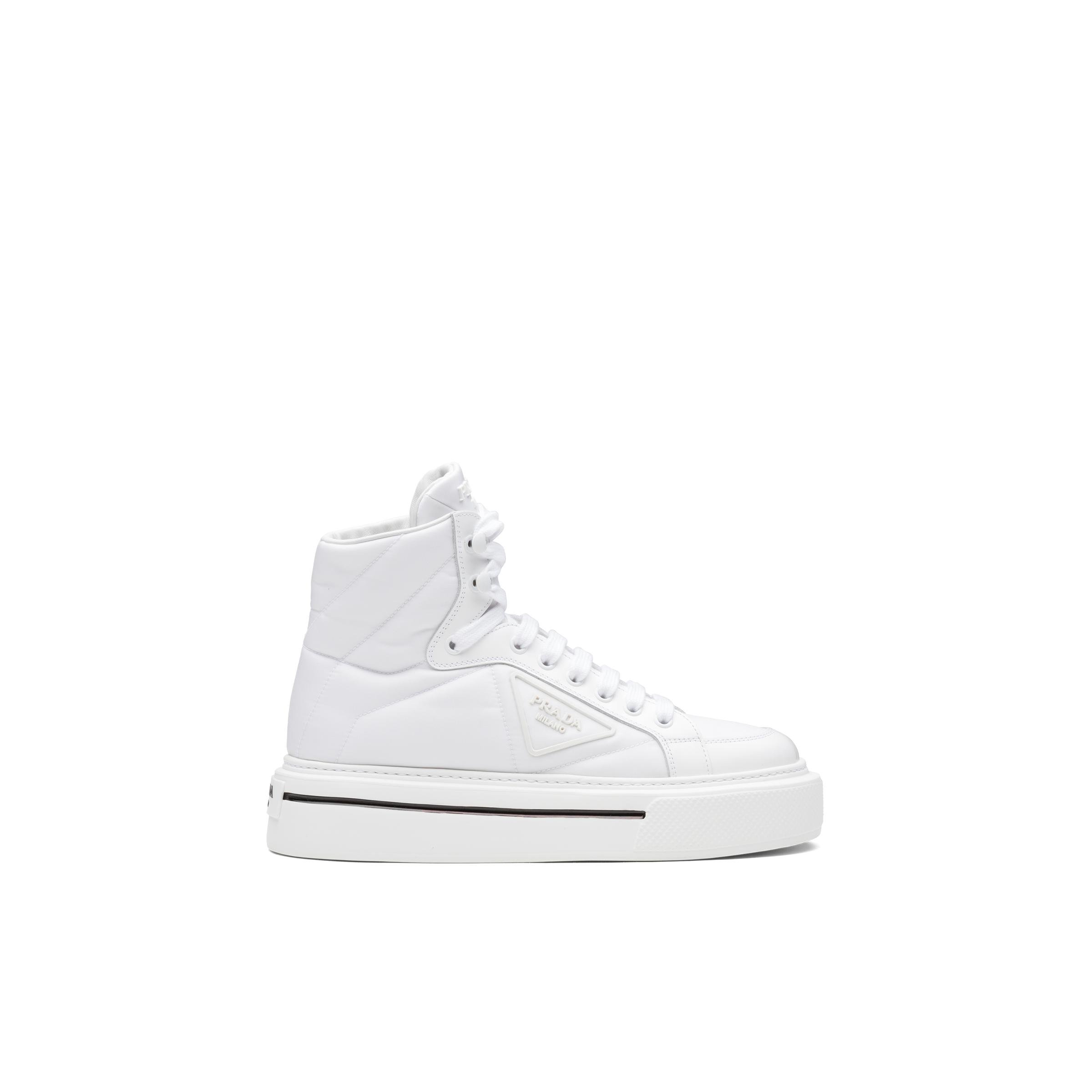 Macro Re-nylon And Brushed Leather High-top Sneakers Women White 2
