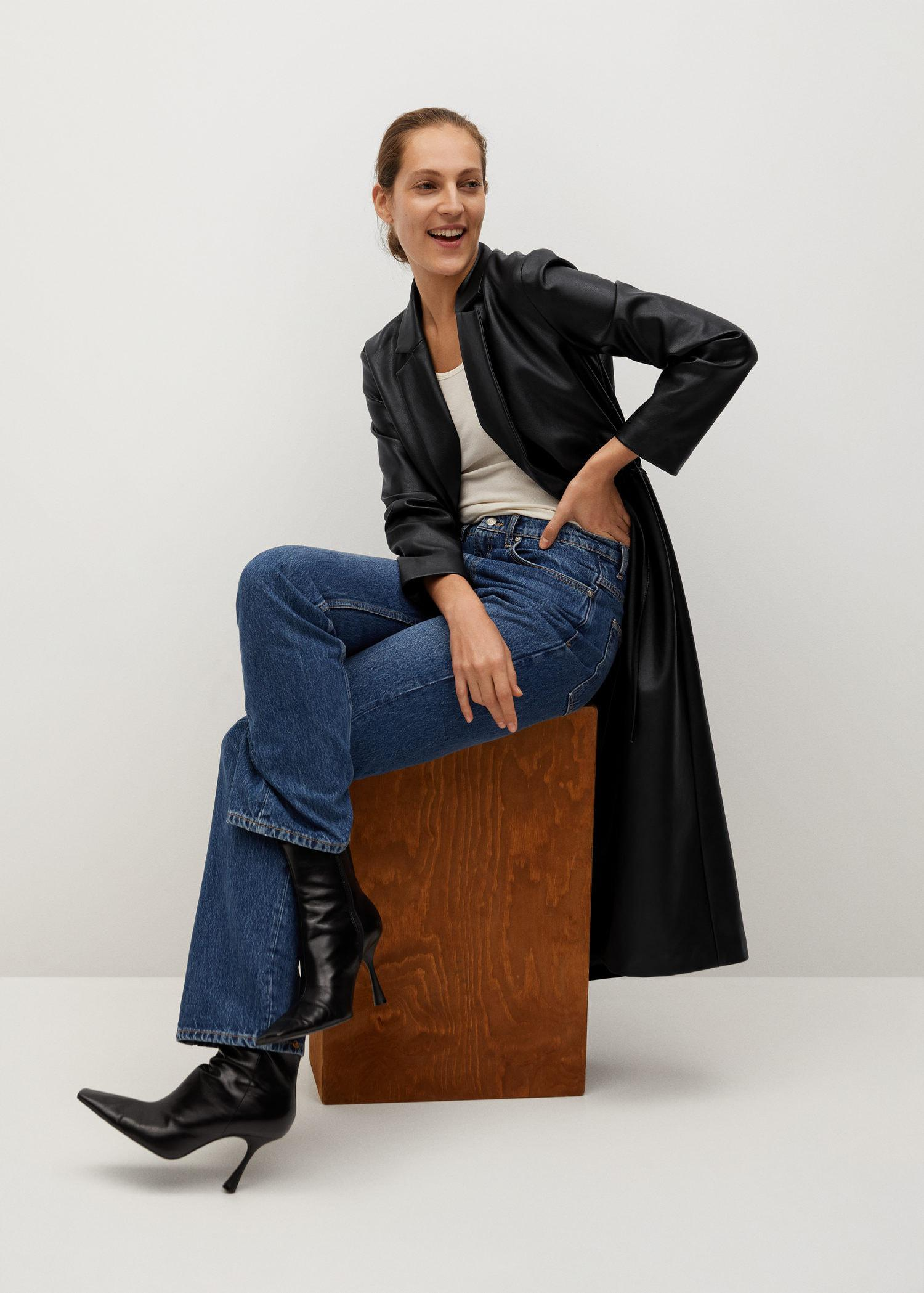 Leather-effect coat with belt 7