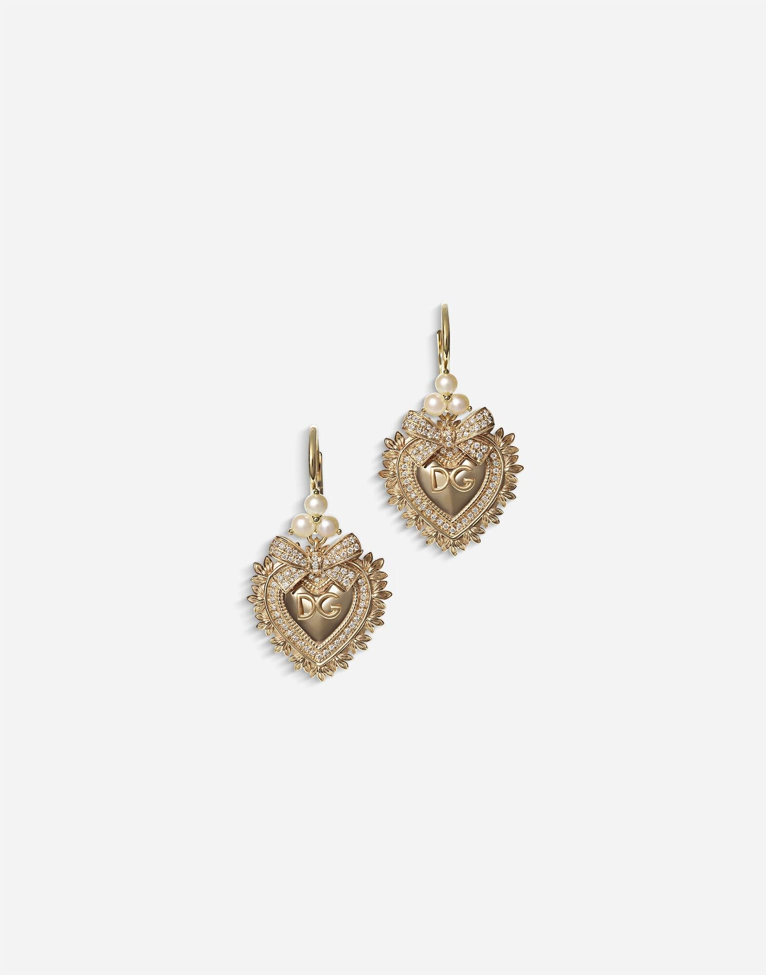 Devotion earrings in yellow gold with diamonds and pearls