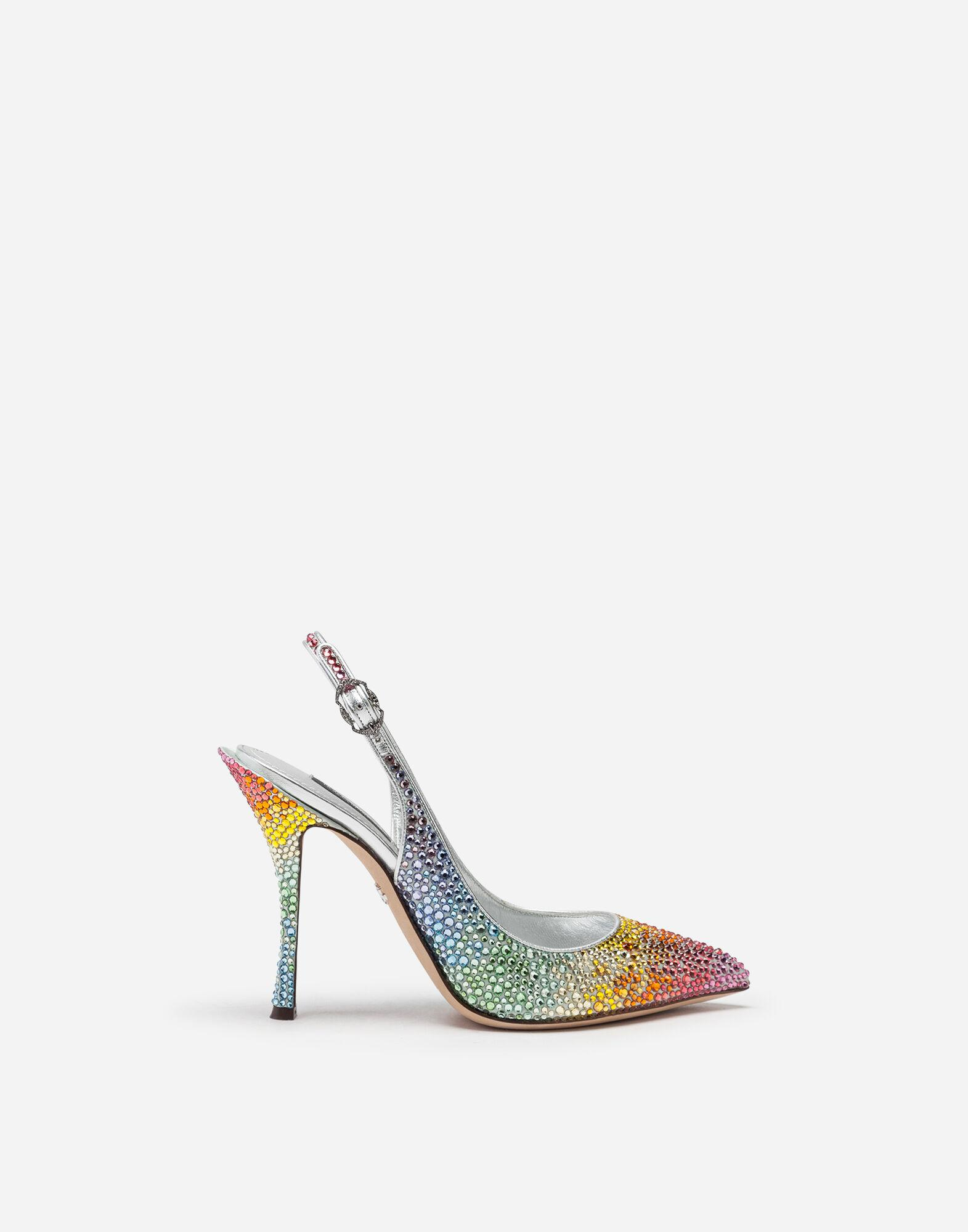 Sling backs in satin and crystal 0