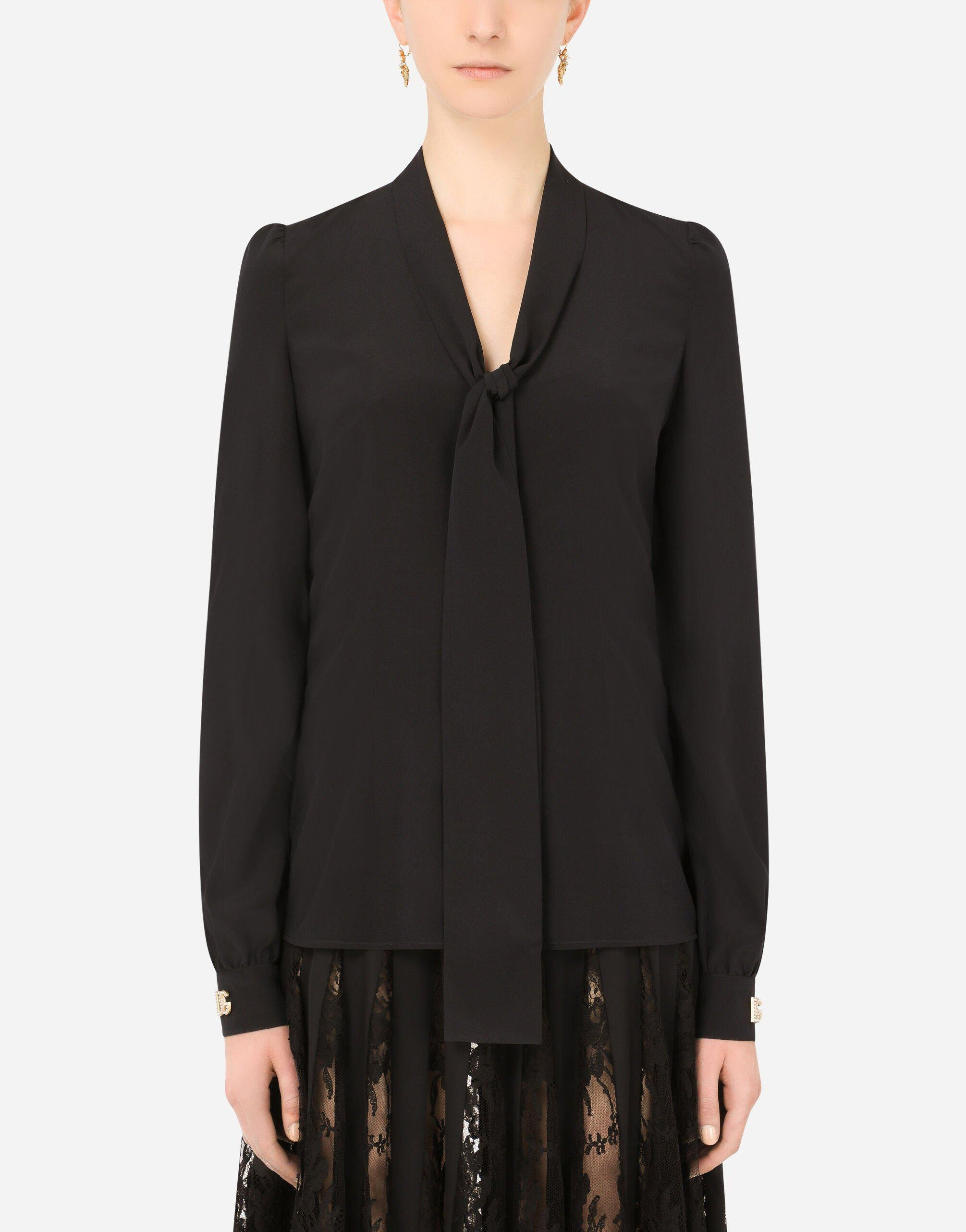 Crepe de chine pussy-bow shirt with crystal DG embellishment