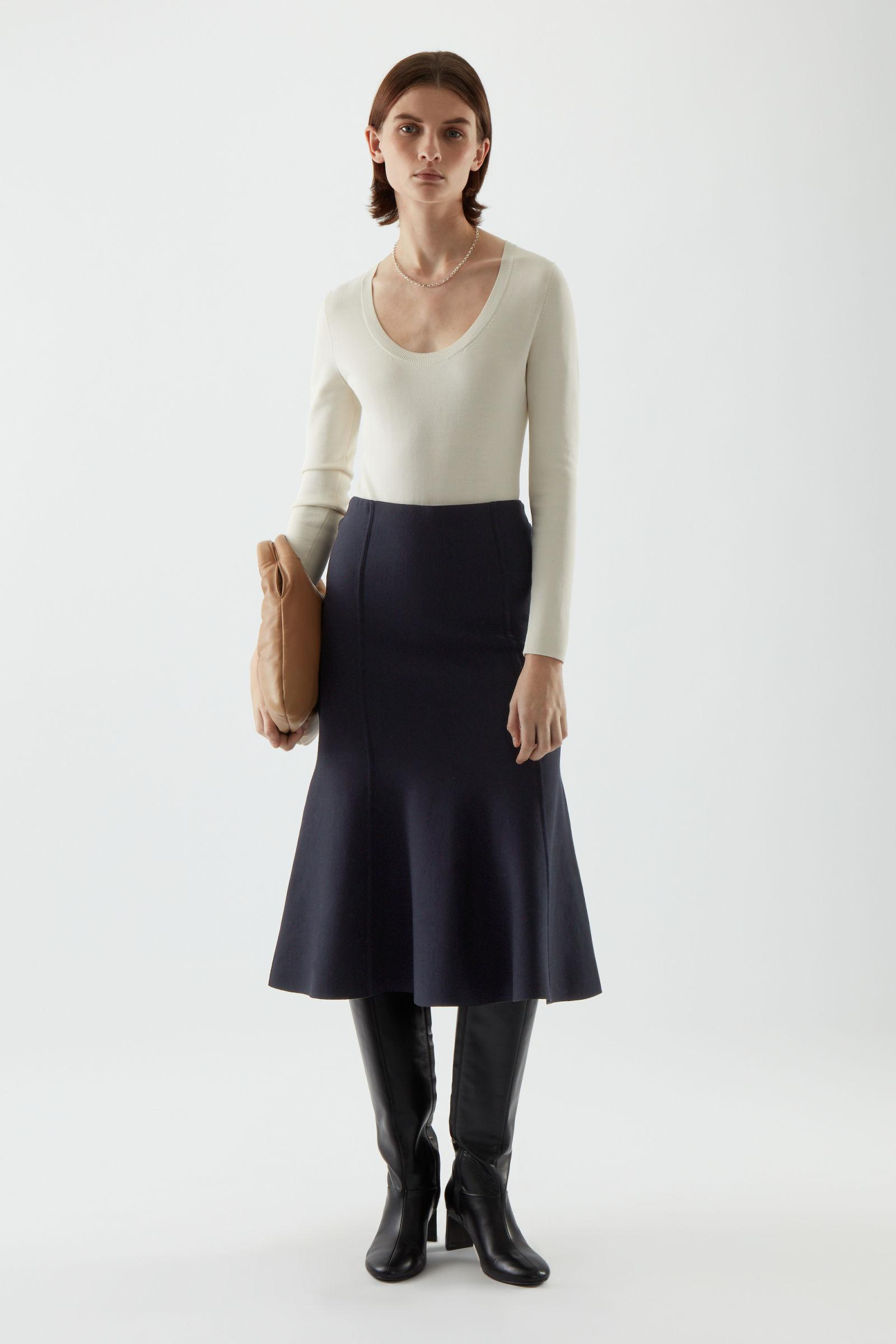 DOUBLE FACE KNITTED COTTON SKIRT