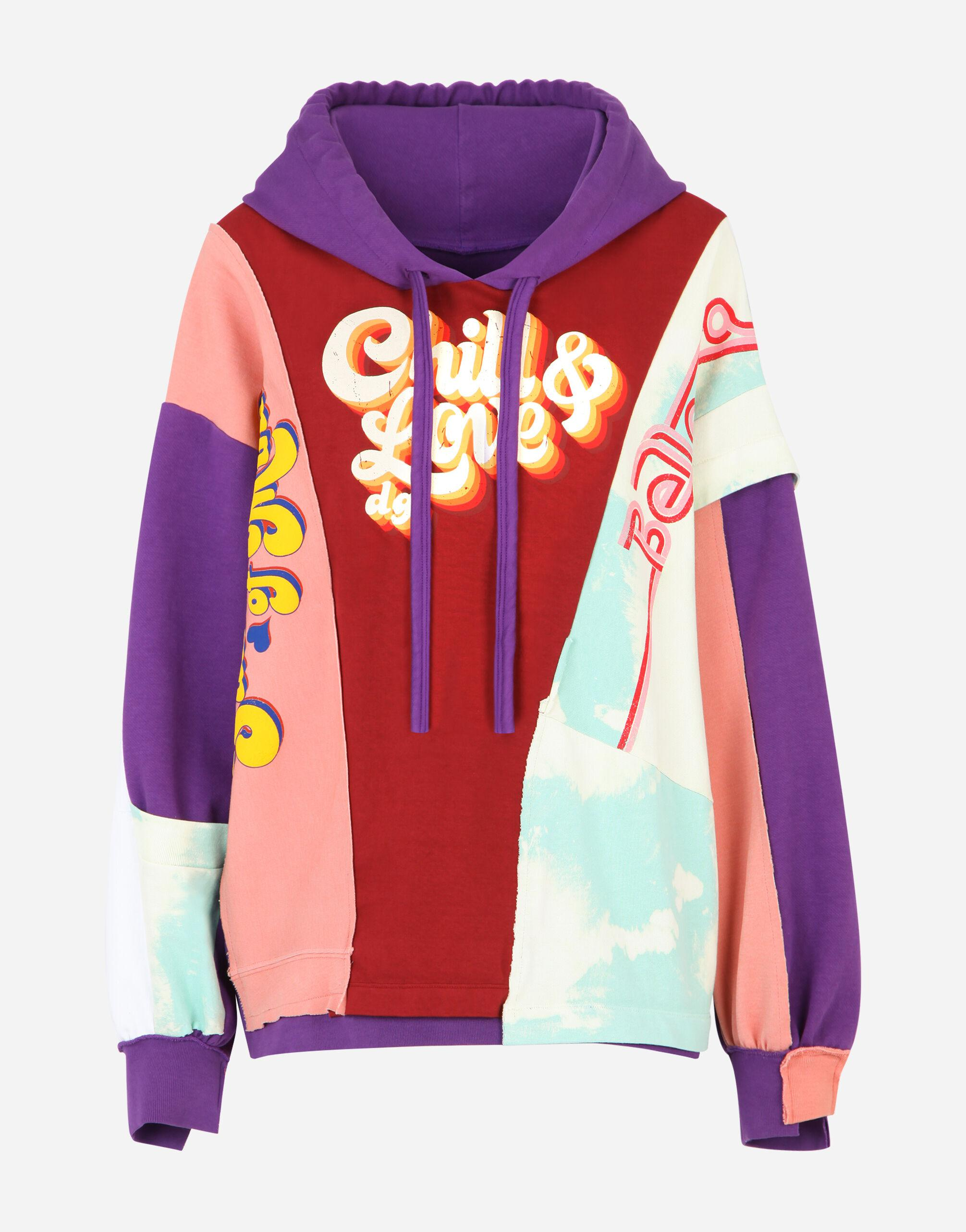 Patchwork jersey hoodie with chill & love DG print 3