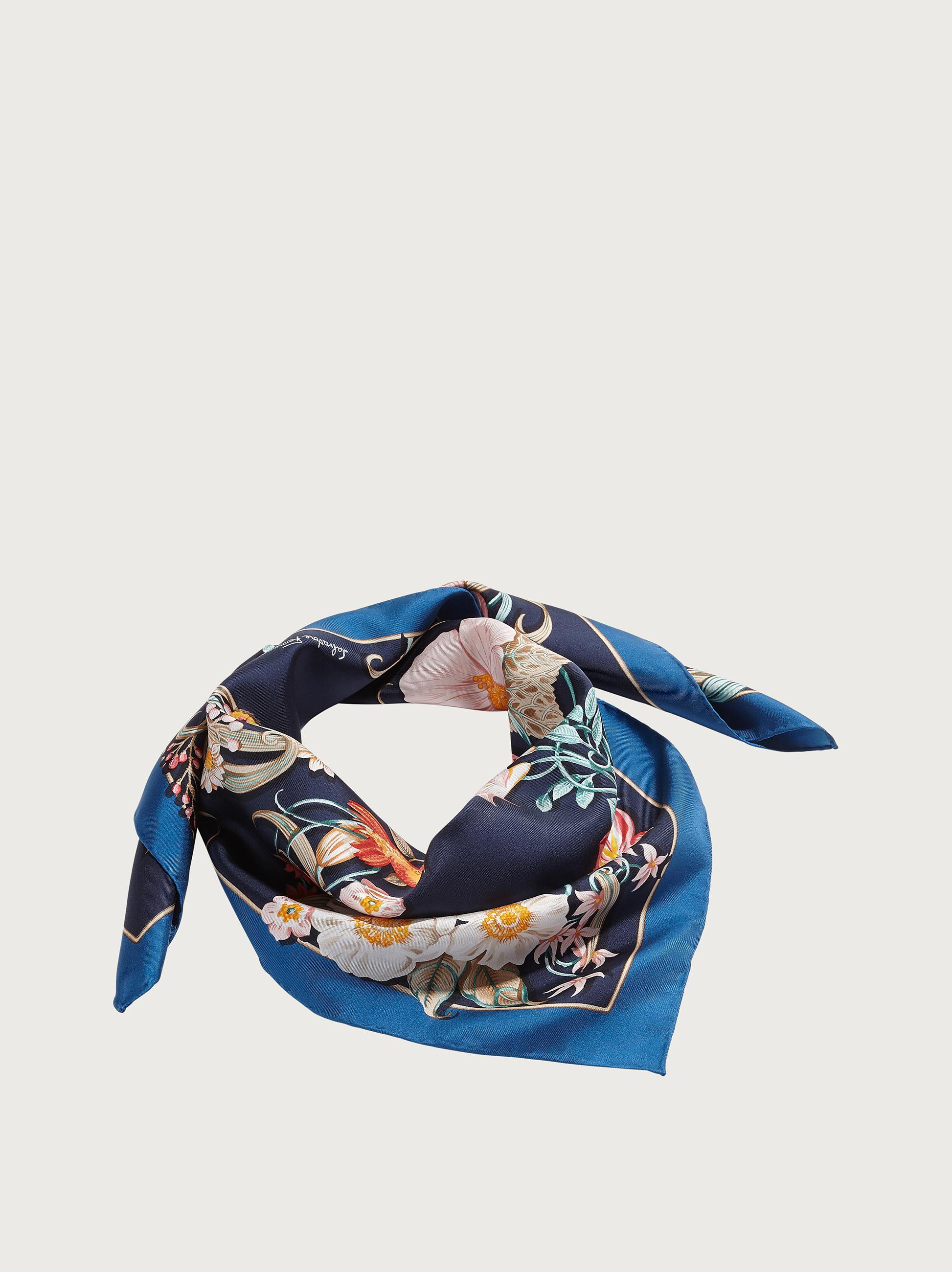 FLOWERS AND LETTERS PRINT SILK SCARF