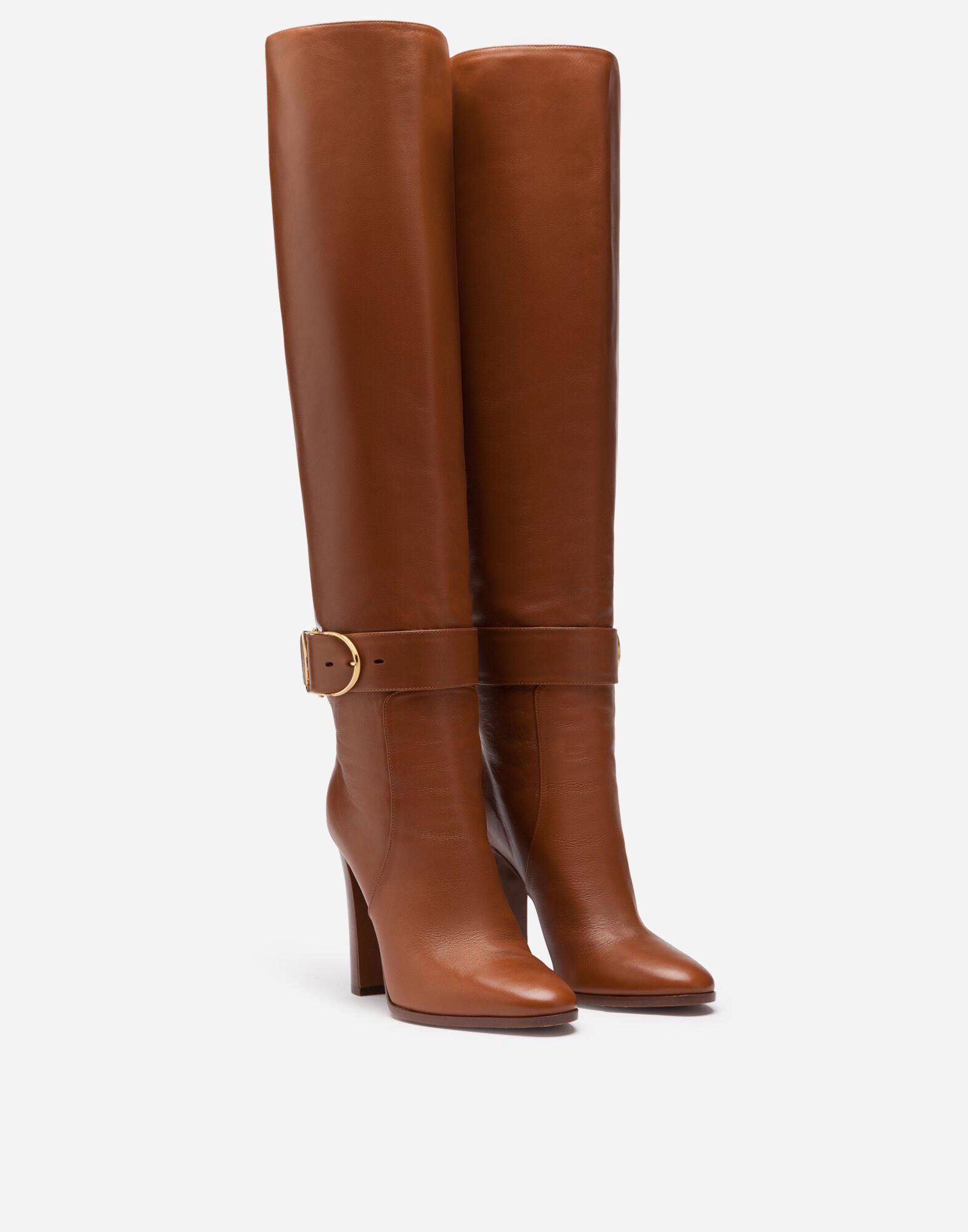 Boots in foulard calfskin with decorative buckle 1