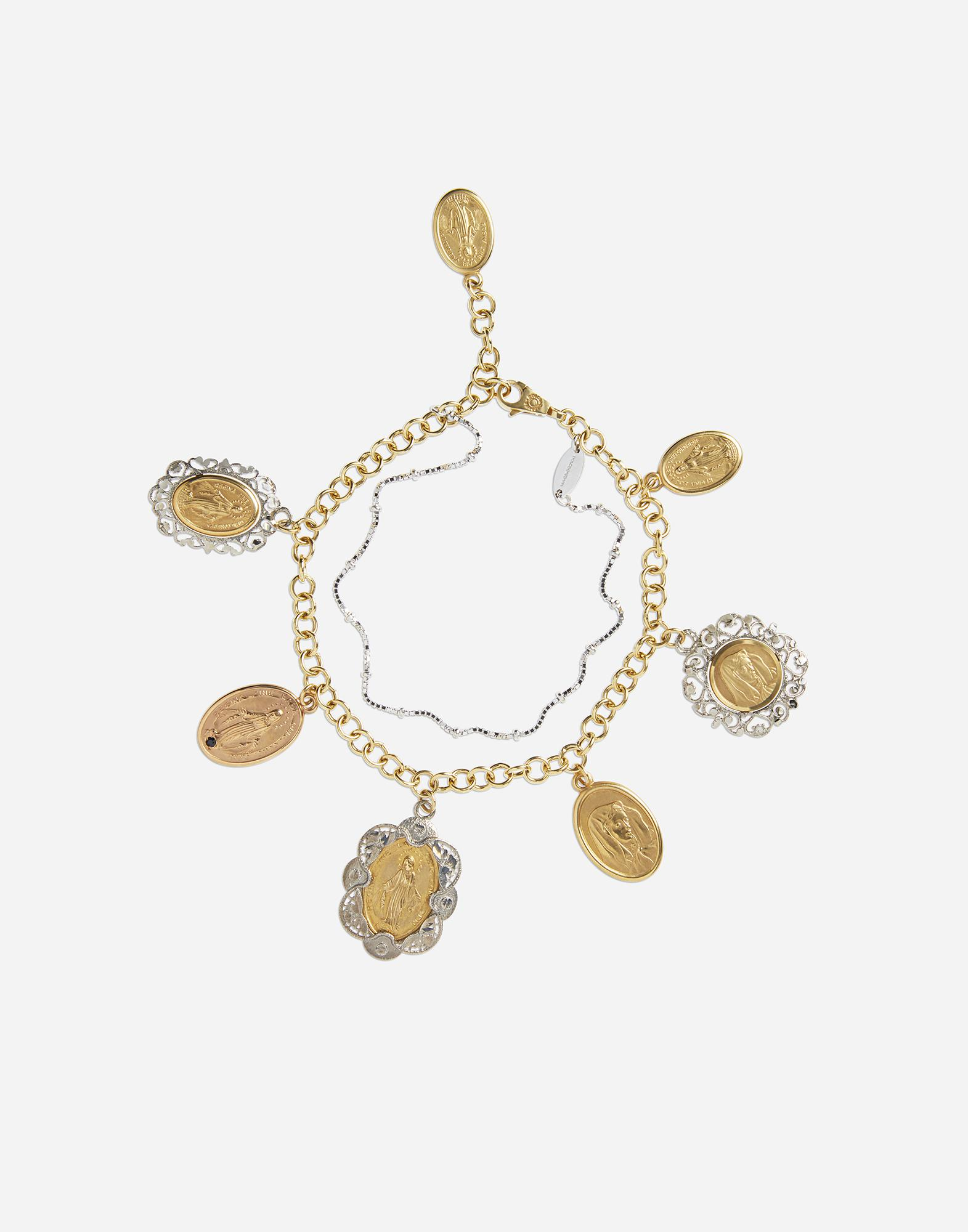 White and rose gold bracelet with religious medallions