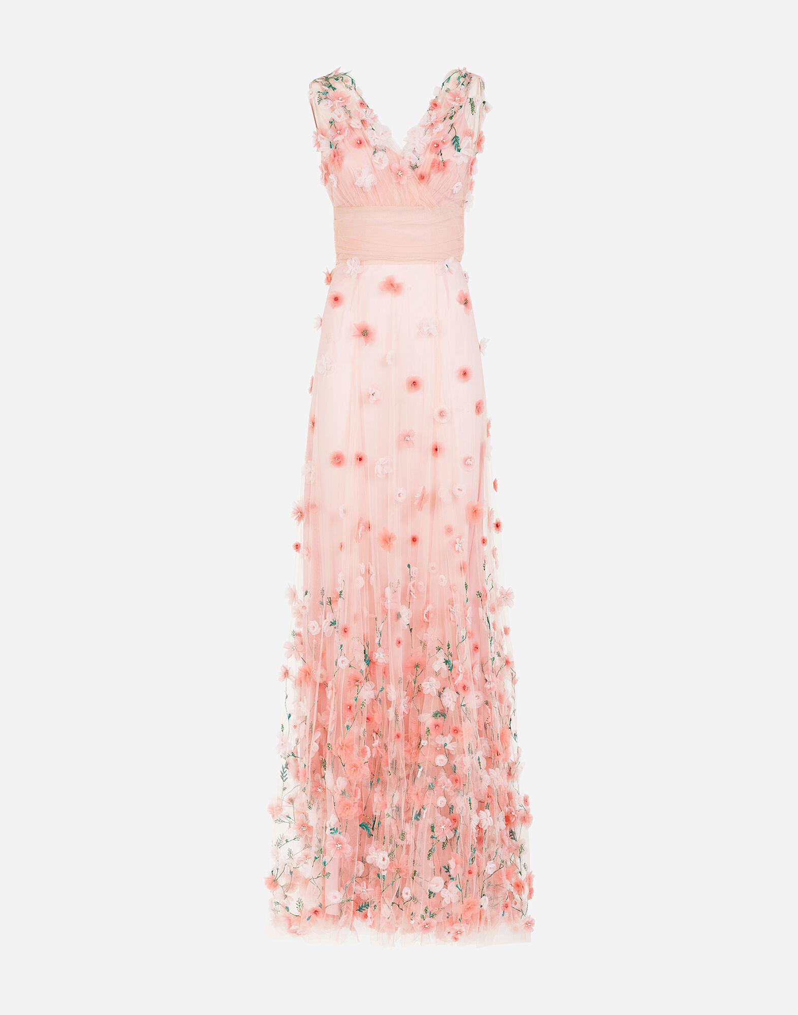 Long dress in tulle with sequins and mini hand-embroidered flowers 4