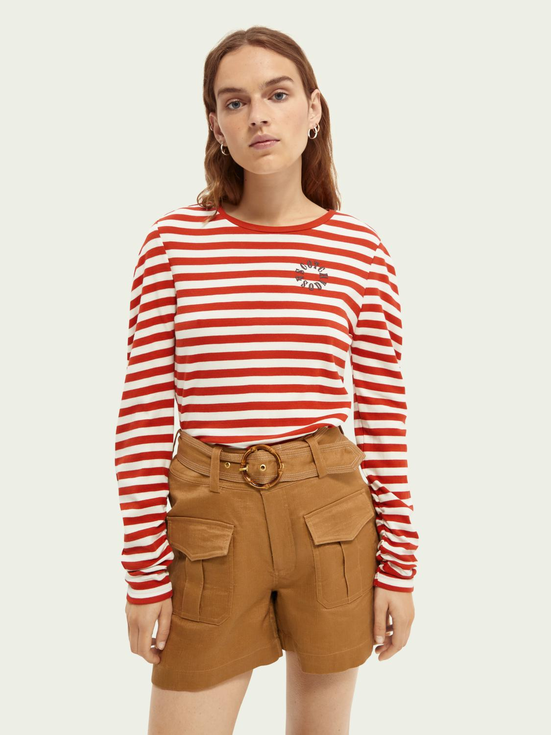Rounded sleeve cotton top