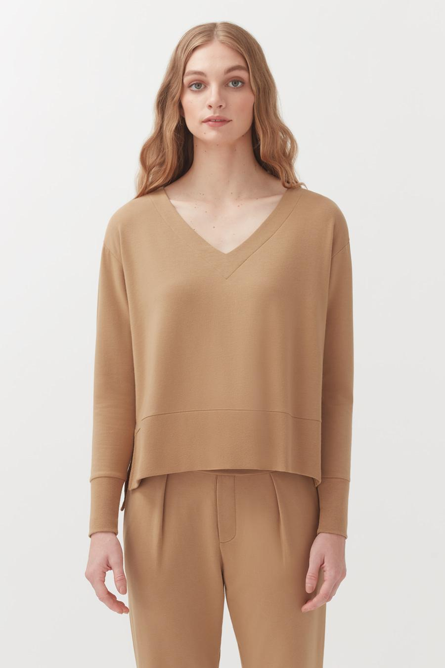 Women's French Terry V-Neck Sweatshirt in Camel | Size: 1