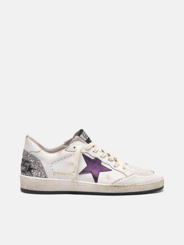Ball Star sneakers with metallic purple star and glitter back 0