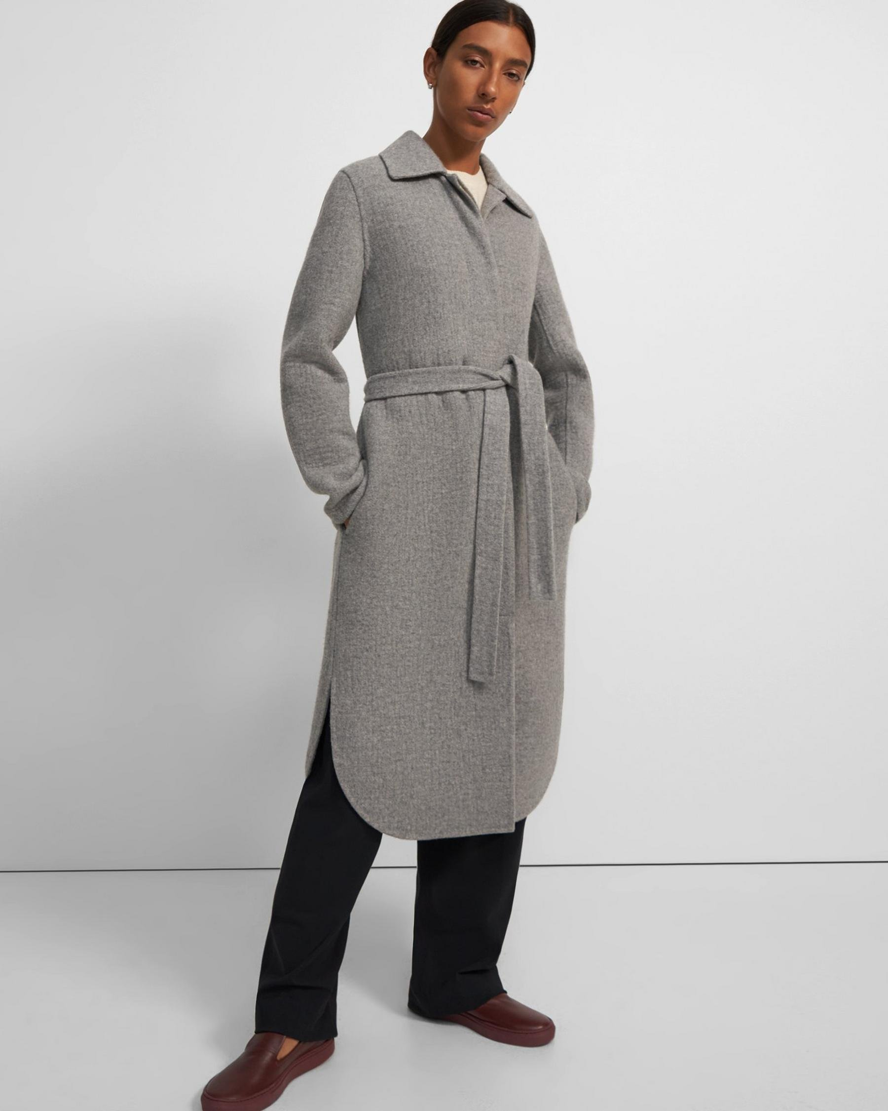 Shirttail Coat in Wool-Cashmere