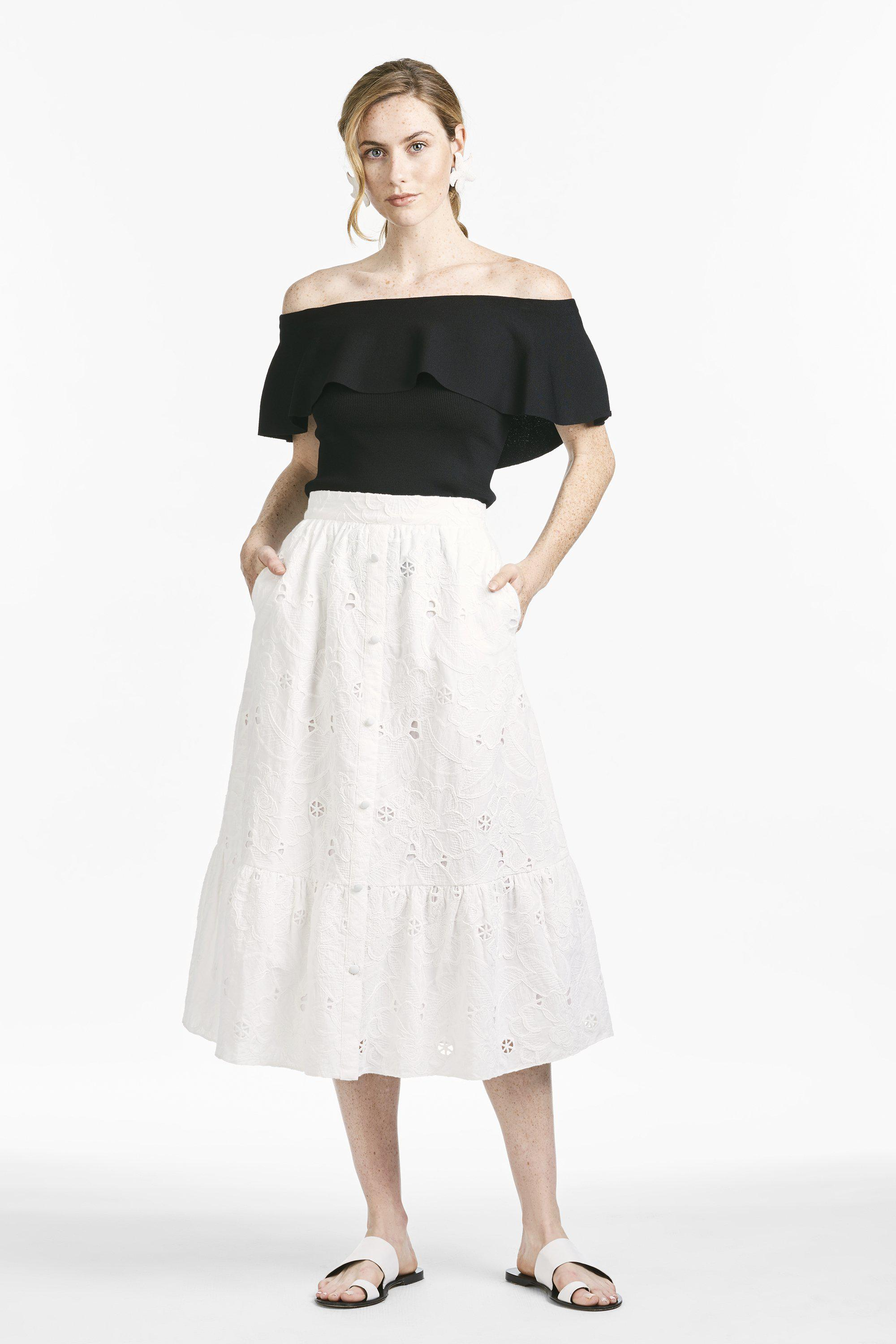 Larsa Skirt - Ivory Floral Embroidered Cotton