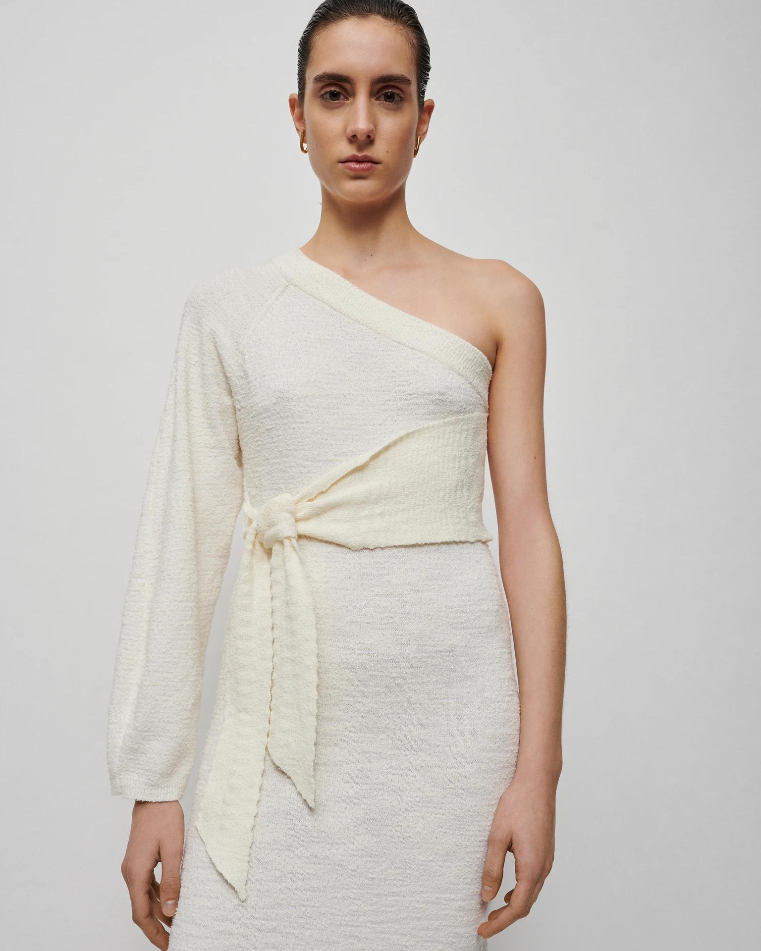 CEDRO - One-sleeve cotton-blend terry dress - Creme